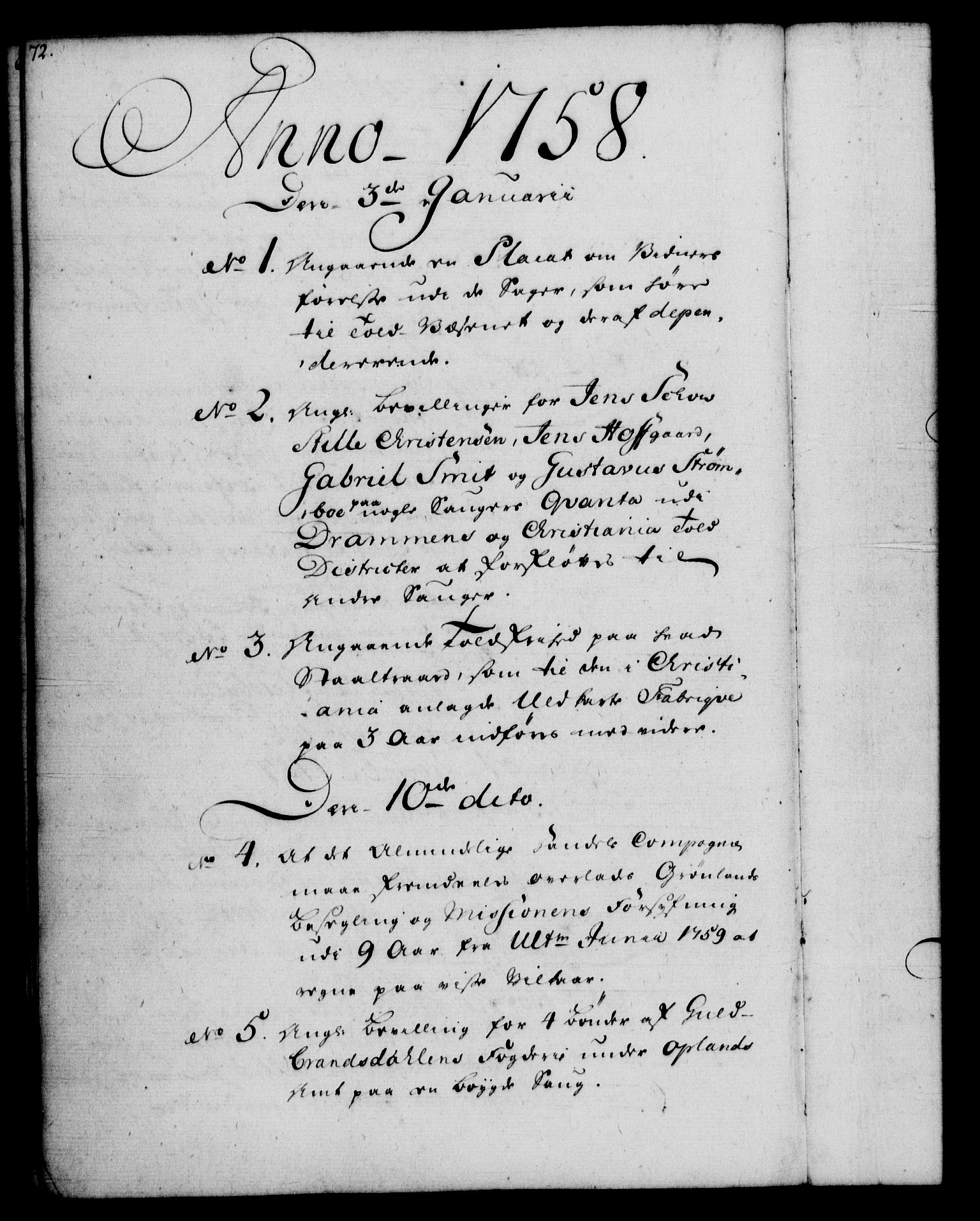 RA, Rentekammeret, Kammerkanselliet, G/Gf/Gfb/L0006: Register til norske relasjons- og resolusjonsprotokoller (merket RK 52.101), 1755-1765, s. 72