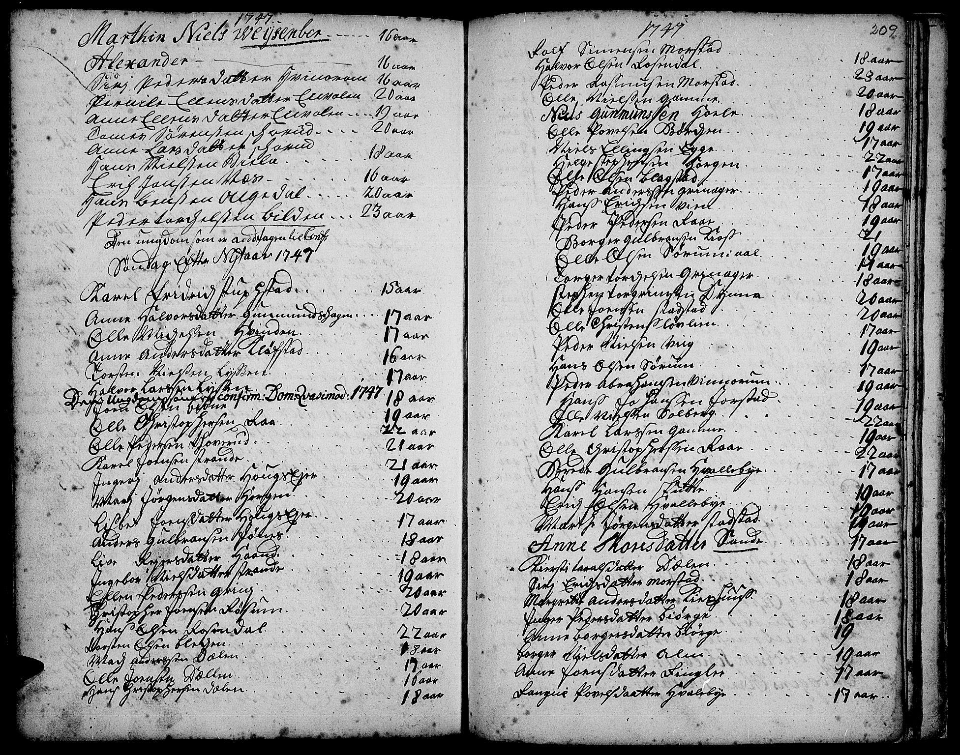 SAH, Gran prestekontor, Ministerialbok nr. 3, 1745-1758, s. 209