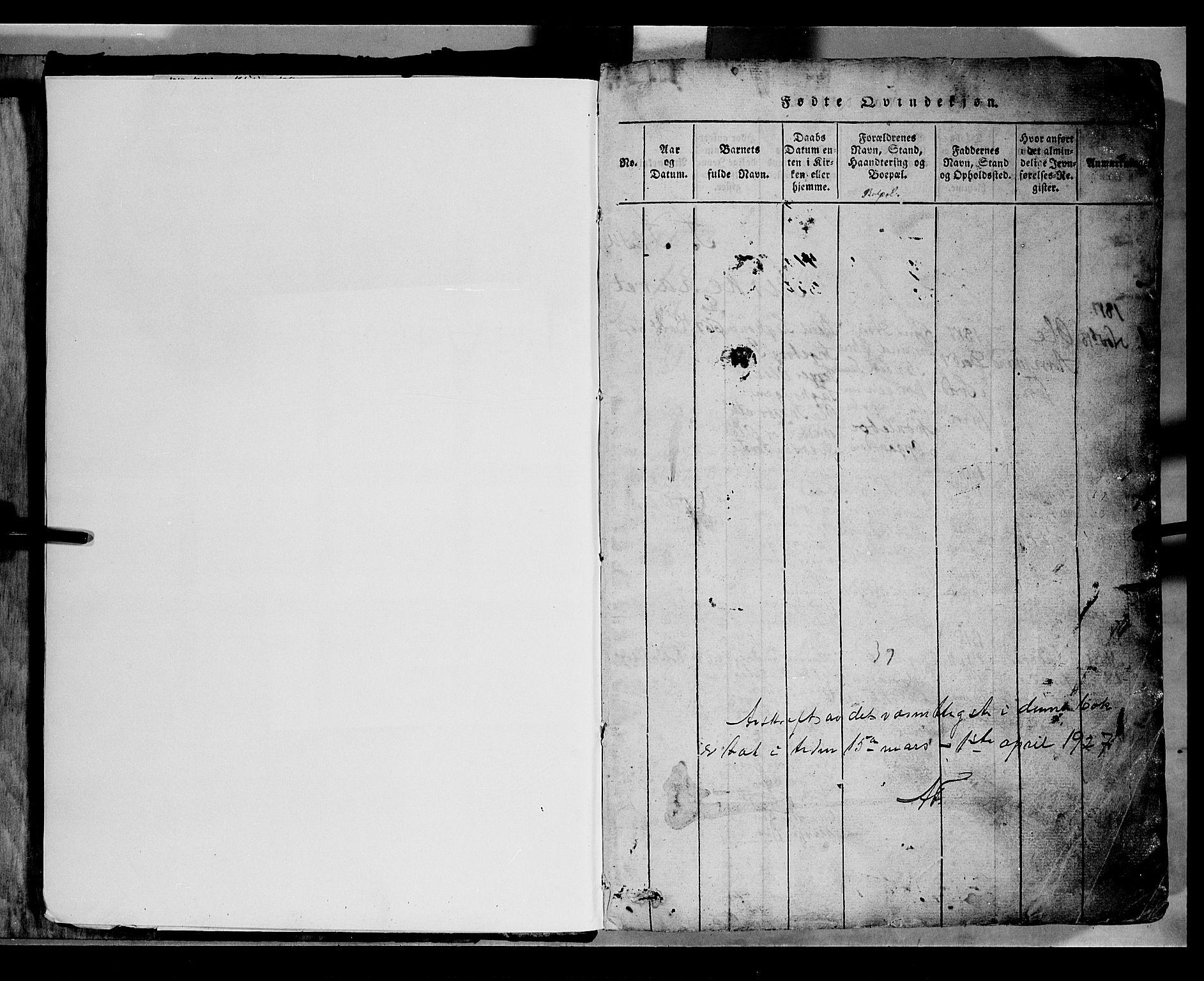 SAH, Gausdal prestekontor, Klokkerbok nr. 2, 1818-1874, s. 0-1