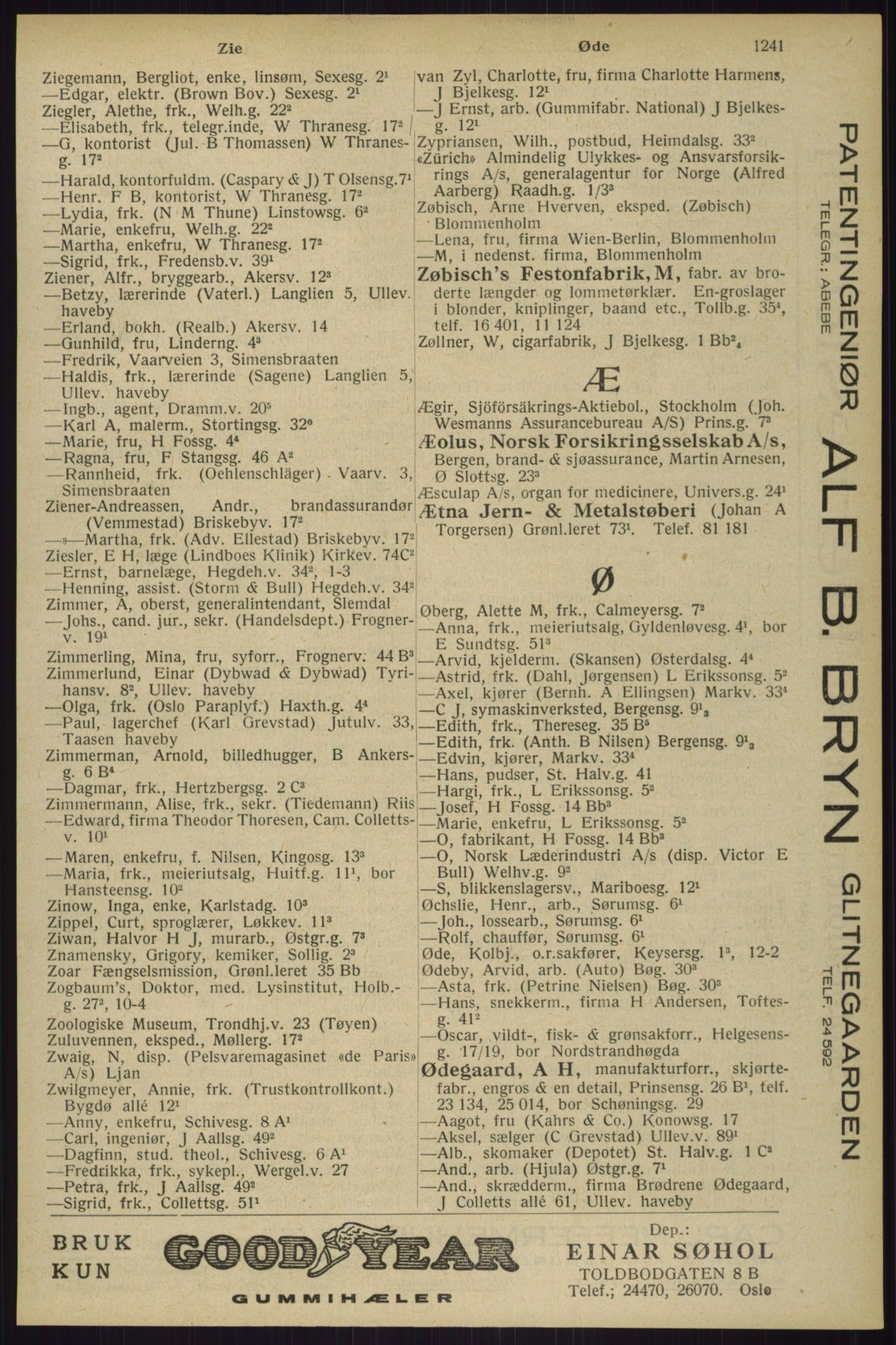 RA, Oslo adressebok (publikasjon)*, 1929, s. 1241