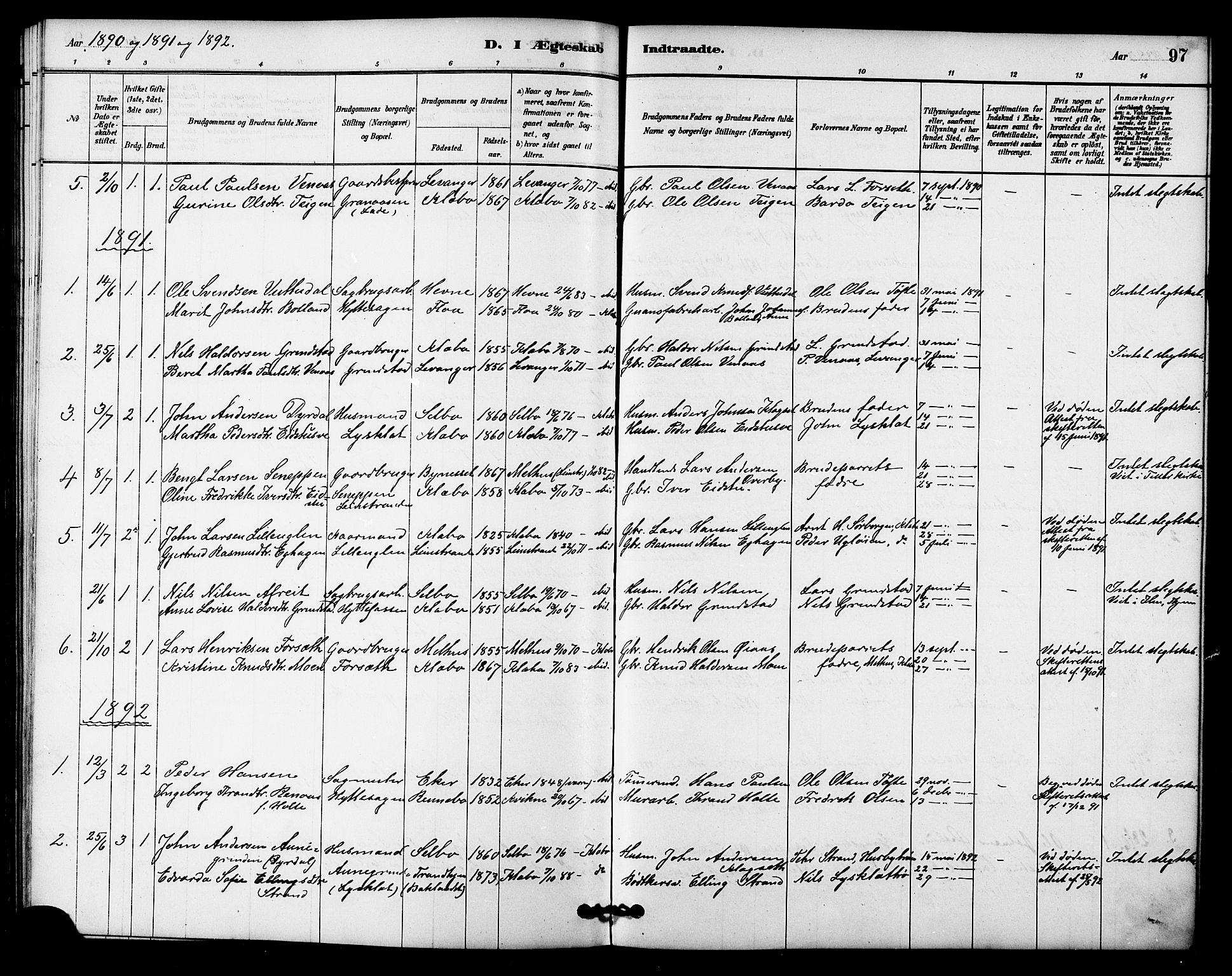 SAT, Ministerialprotokoller, klokkerbøker og fødselsregistre - Sør-Trøndelag, 618/L0444: Ministerialbok nr. 618A07, 1880-1898, s. 97