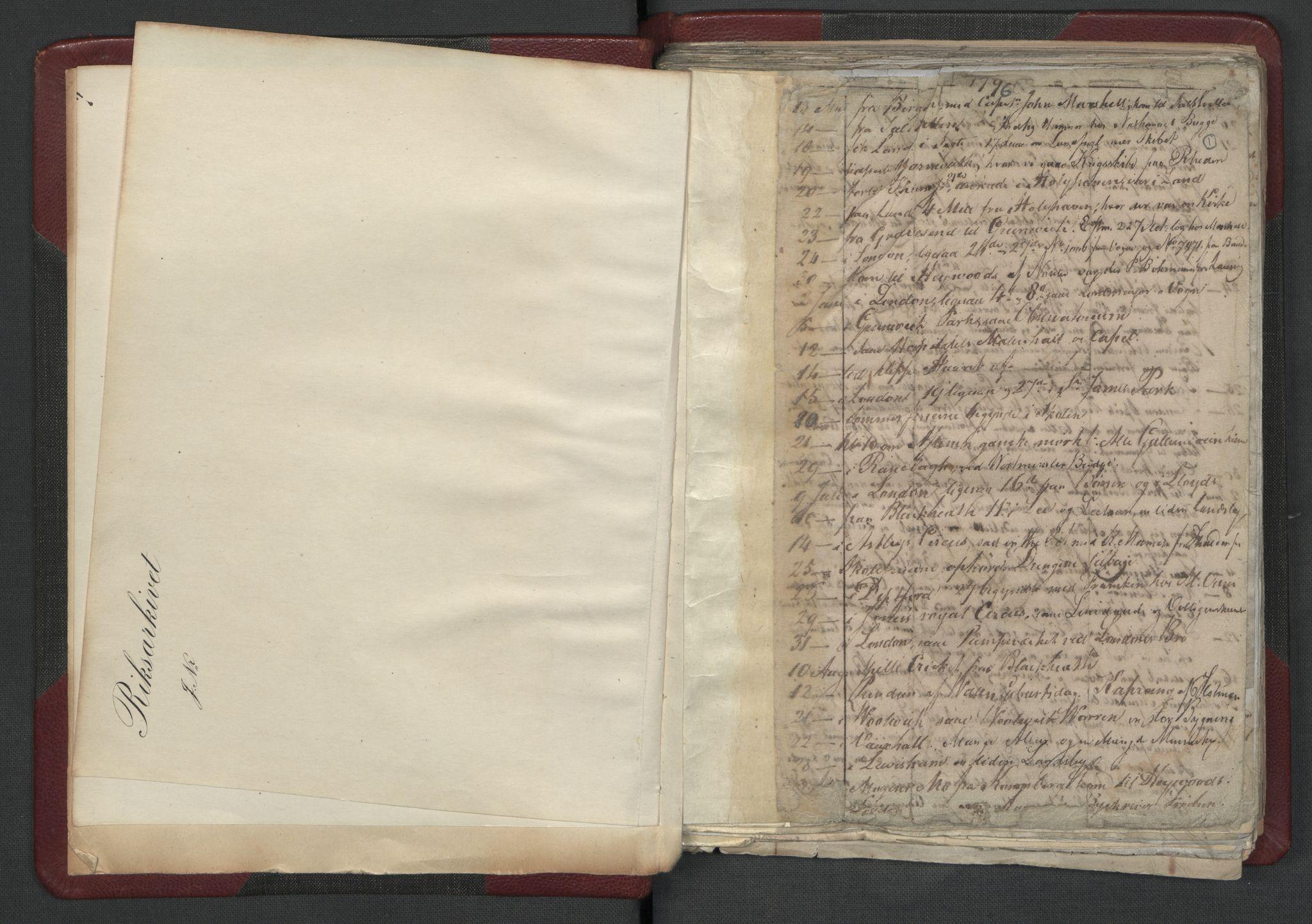 RA, Meltzer, Fredrik, F/L0001: Dagbok for årene 1796-1808, 1811, 1817, 1796-1817, s. 1a