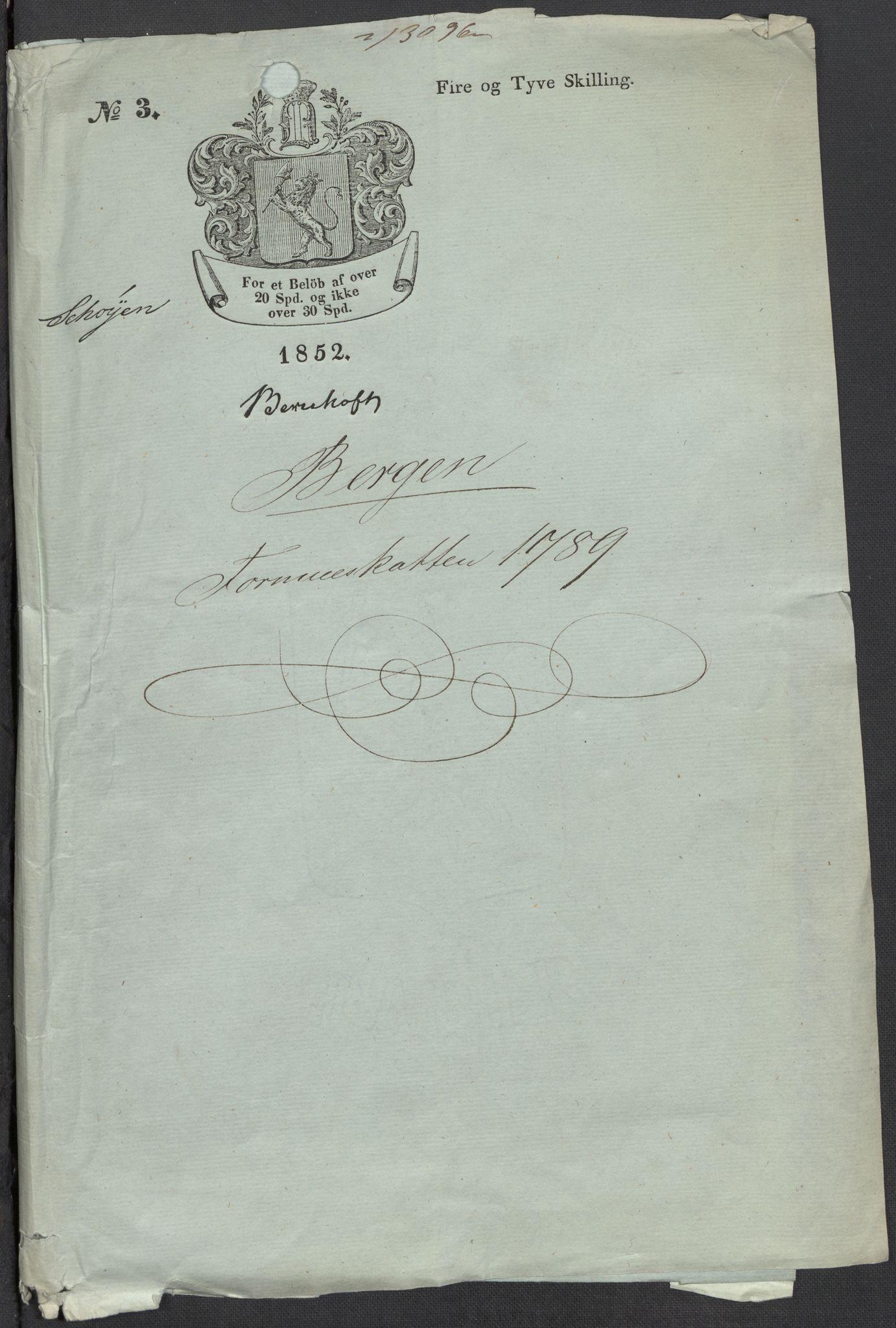 RA, Rentekammeret inntil 1814, Reviderte regnskaper, Mindre regnskaper, Rf/Rfe/L0002: Arendal. Bergen, 1789, s. 3