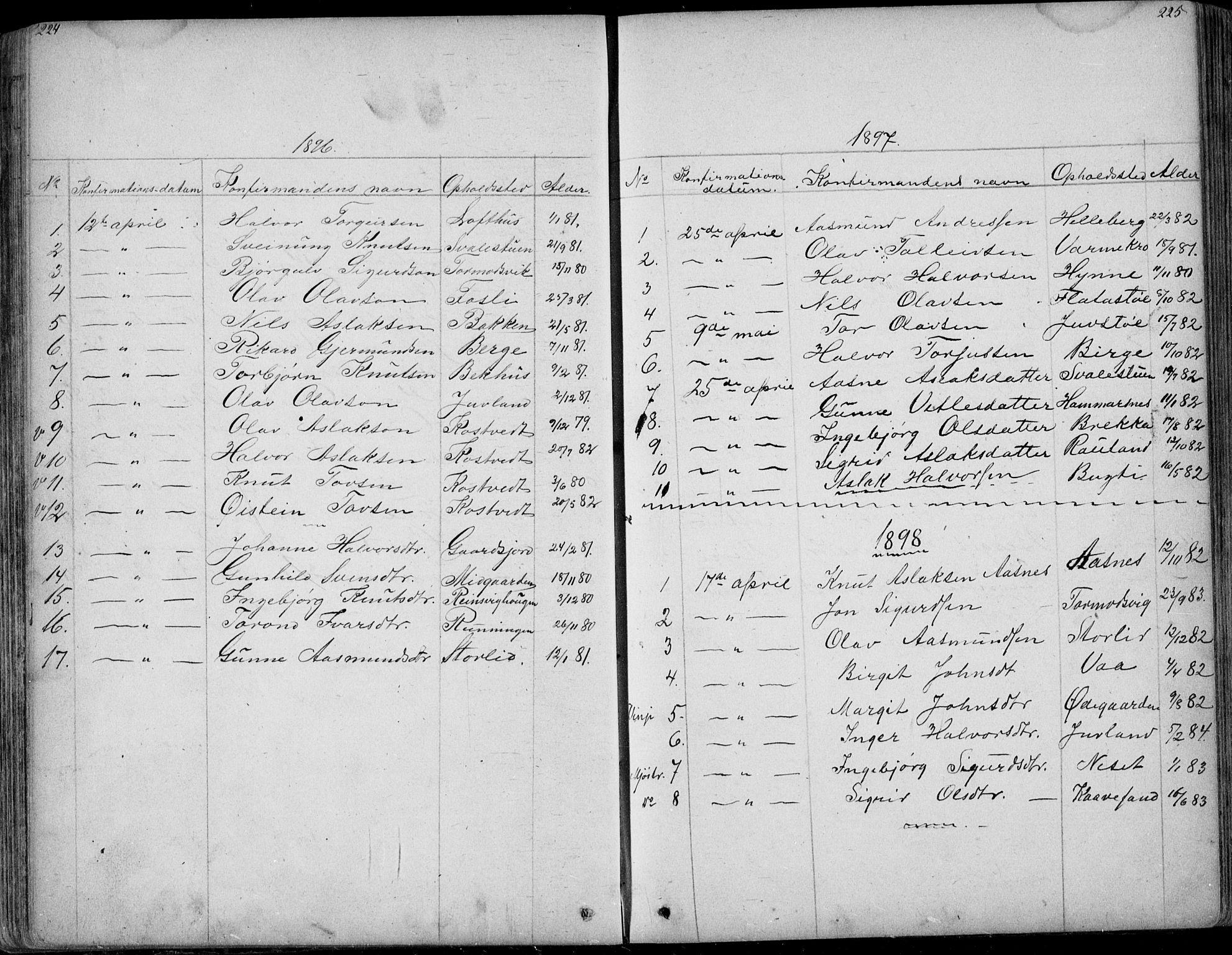 SAKO, Rauland kirkebøker, G/Ga/L0002: Klokkerbok nr. I 2, 1849-1935, s. 224-225