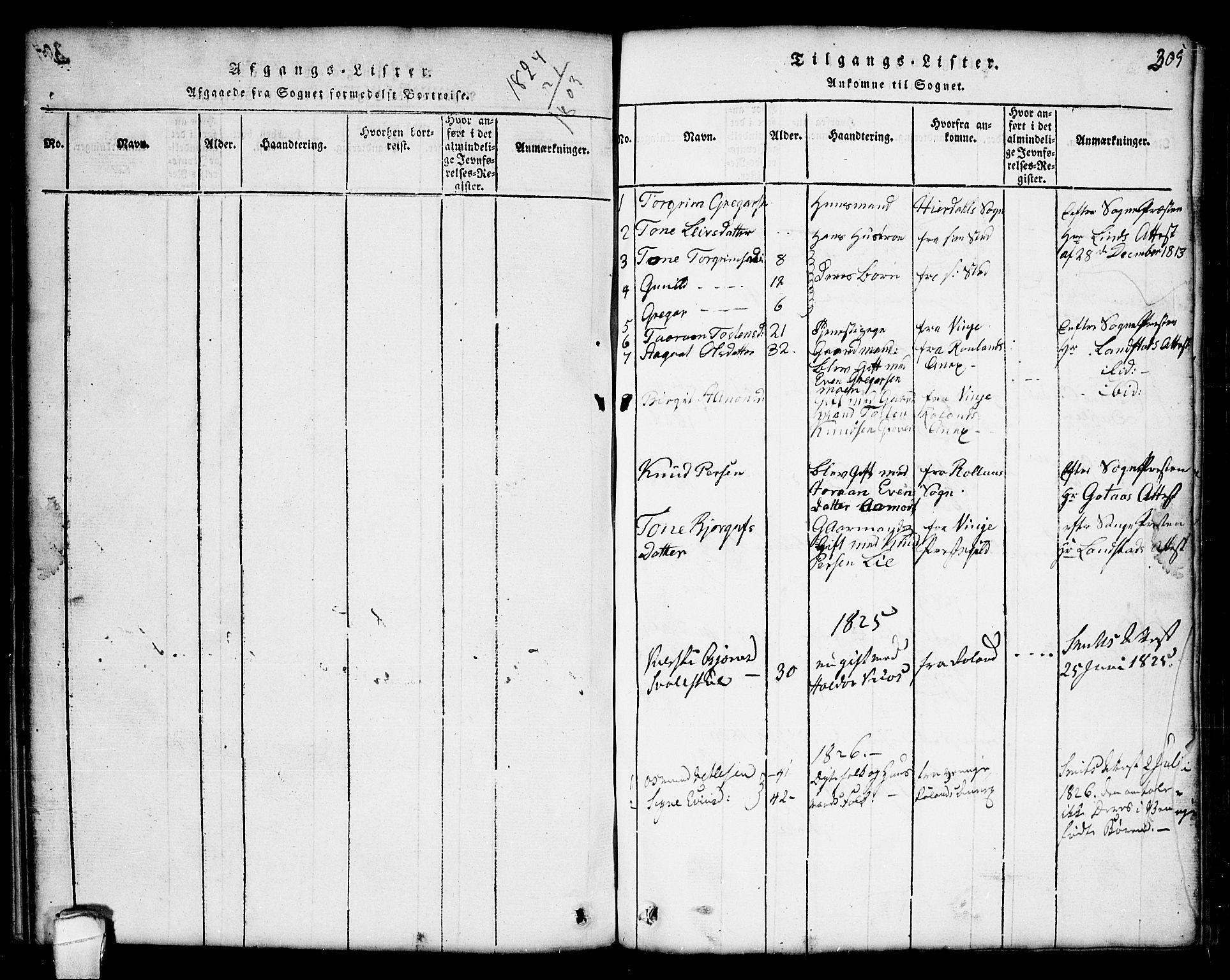 SAKO, Seljord kirkebøker, G/Gc/L0001: Klokkerbok nr. III 1, 1815-1849, s. 305
