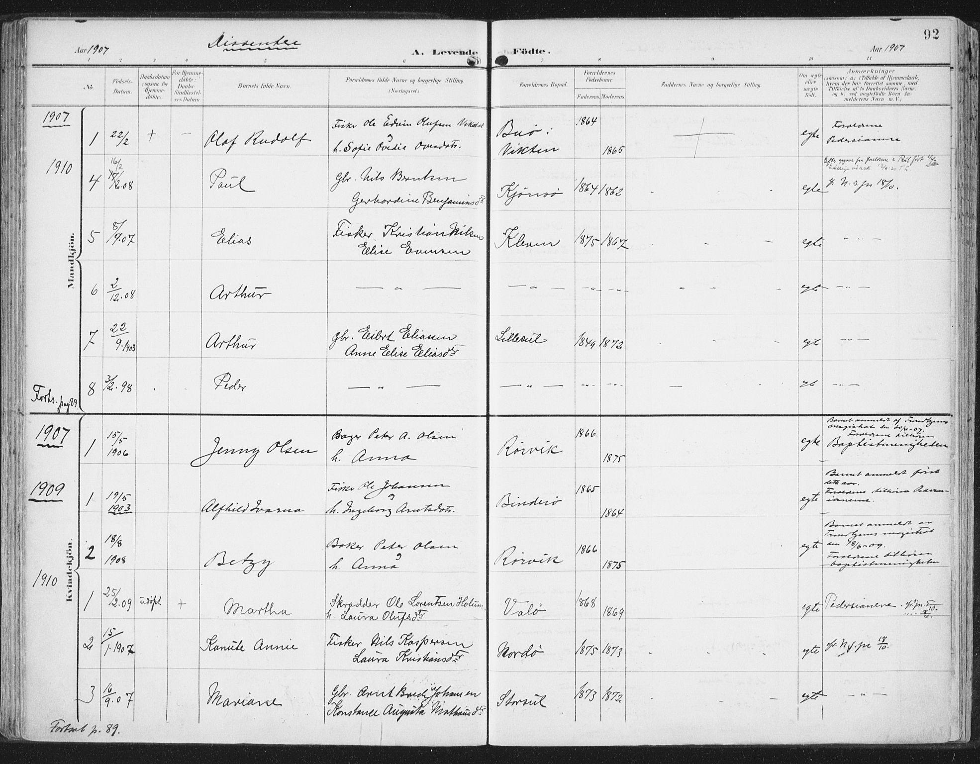 SAT, Ministerialprotokoller, klokkerbøker og fødselsregistre - Nord-Trøndelag, 786/L0688: Ministerialbok nr. 786A04, 1899-1912, s. 92