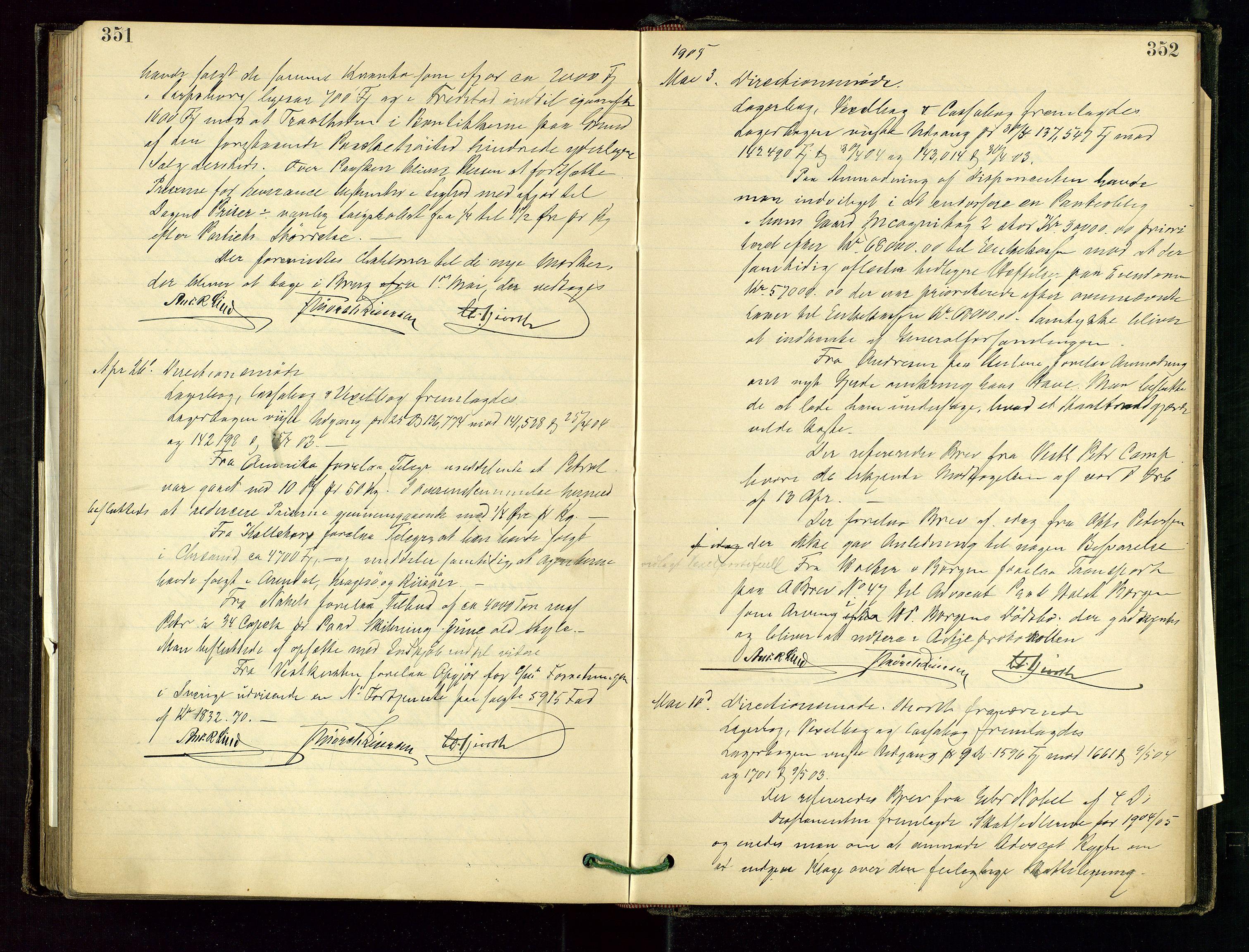 SAST, PA 1534 - Østlandske Petroleumscompagni A/S, A/Aa/L0001: Generalforsamlinger og direksjonsprotokoller., 1892-1905, s. 351-352