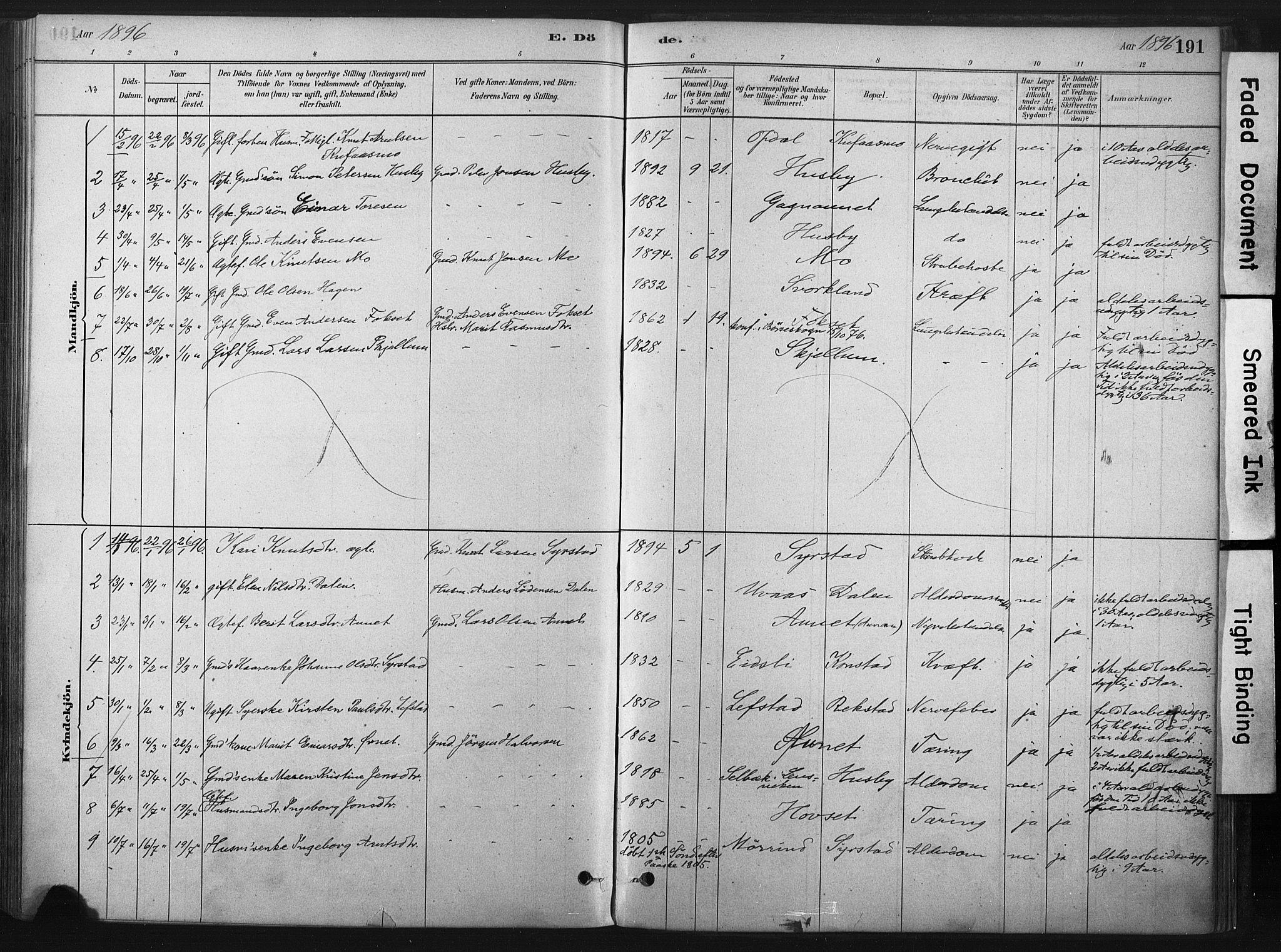 SAT, Ministerialprotokoller, klokkerbøker og fødselsregistre - Sør-Trøndelag, 667/L0795: Ministerialbok nr. 667A03, 1879-1907, s. 191