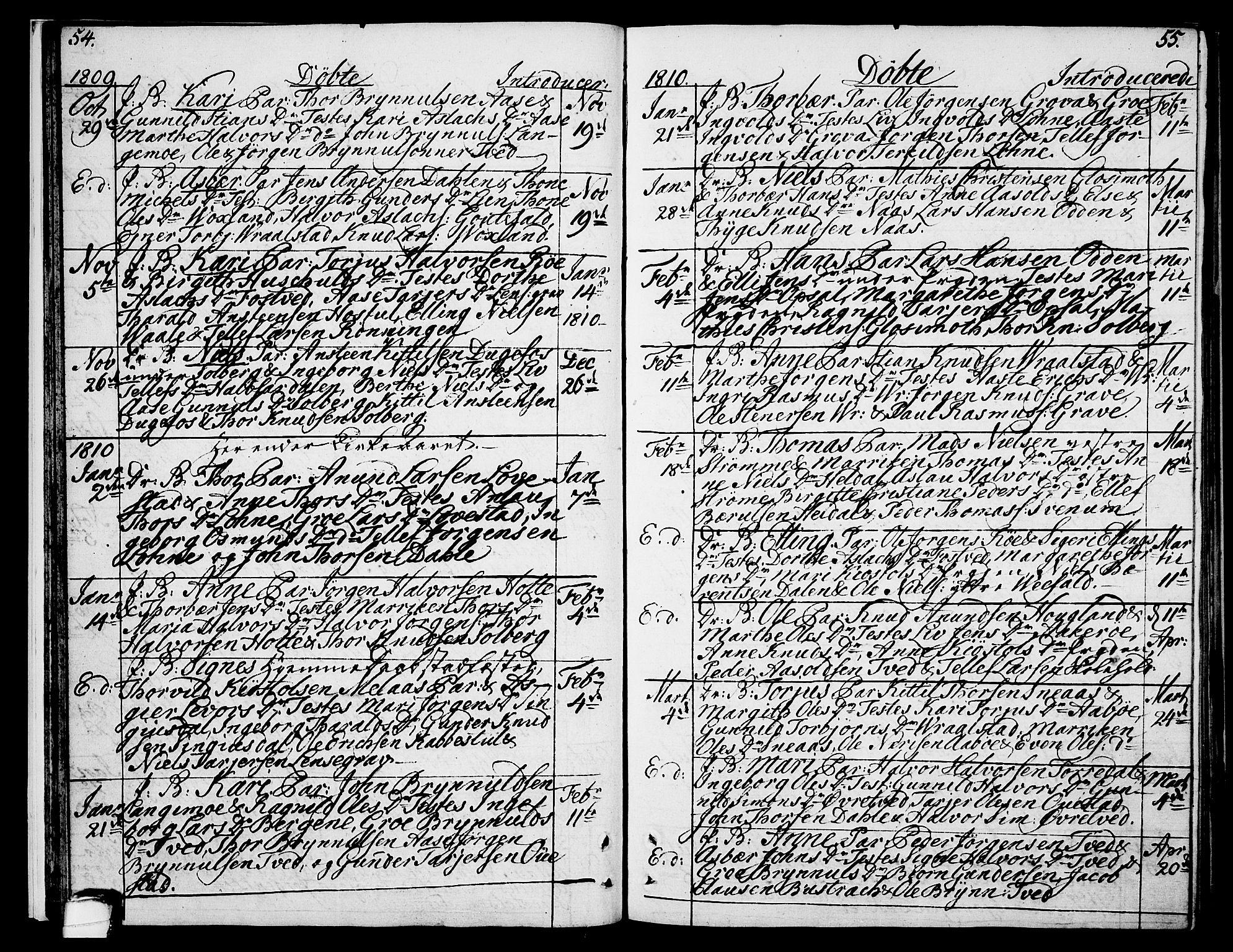 SAKO, Drangedal kirkebøker, F/Fa/L0004: Ministerialbok nr. 4, 1802-1814, s. 54-55