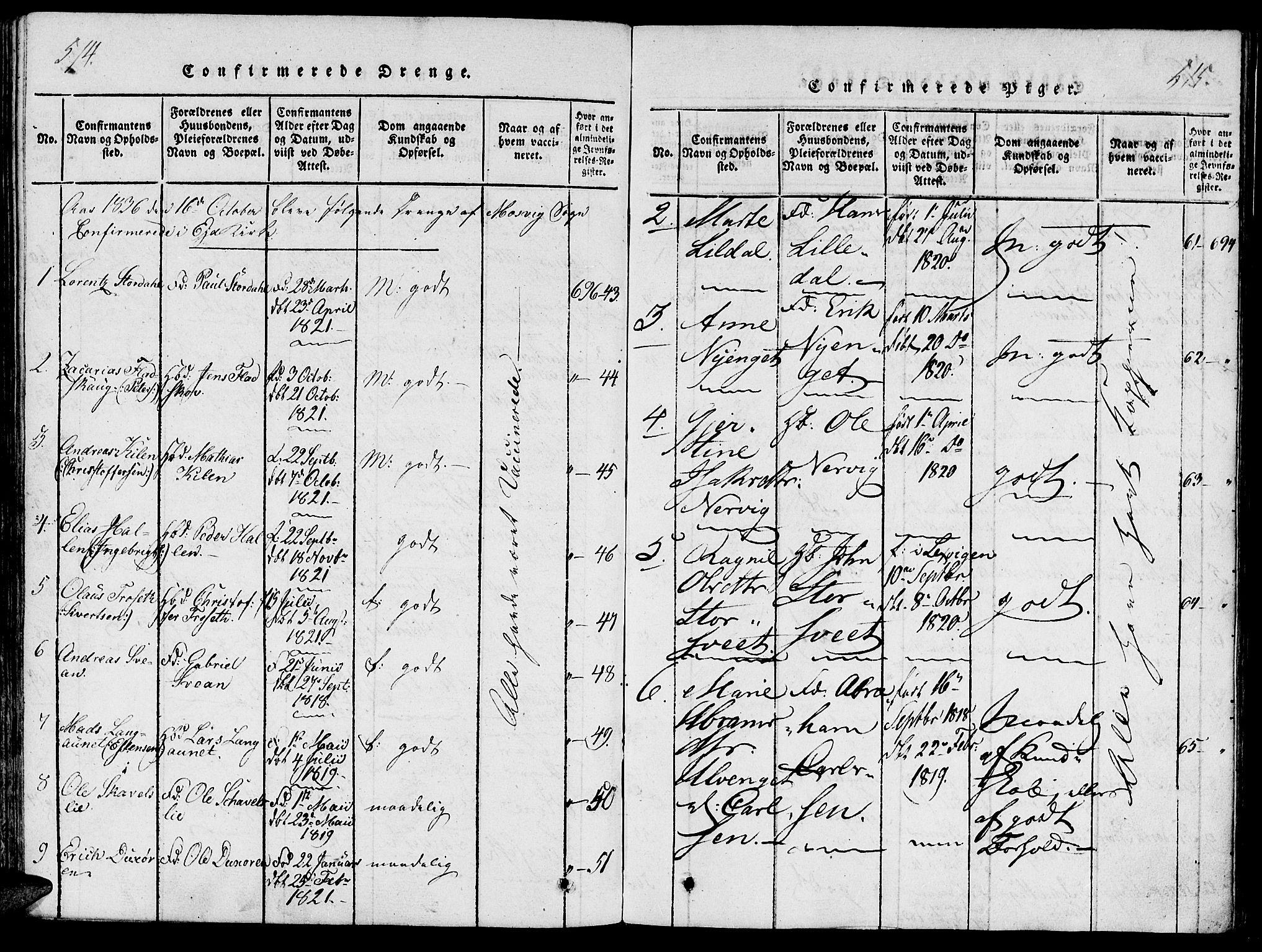 SAT, Ministerialprotokoller, klokkerbøker og fødselsregistre - Nord-Trøndelag, 733/L0322: Ministerialbok nr. 733A01, 1817-1842, s. 514-515