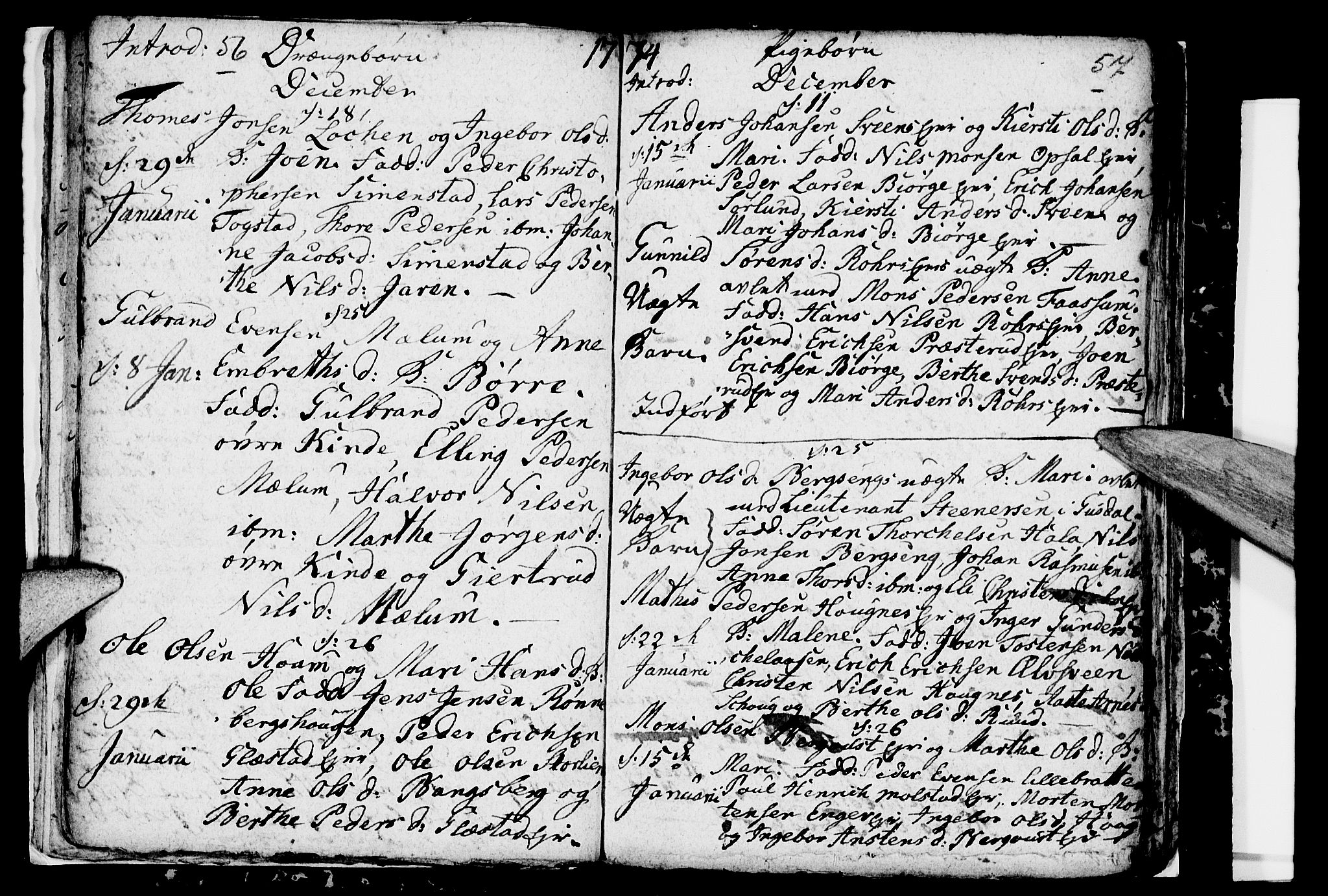 SAH, Ringsaker prestekontor, I/Ia/L0005/0001: Kladd til kirkebok nr. 1A, 1773-1775, s. 56-57