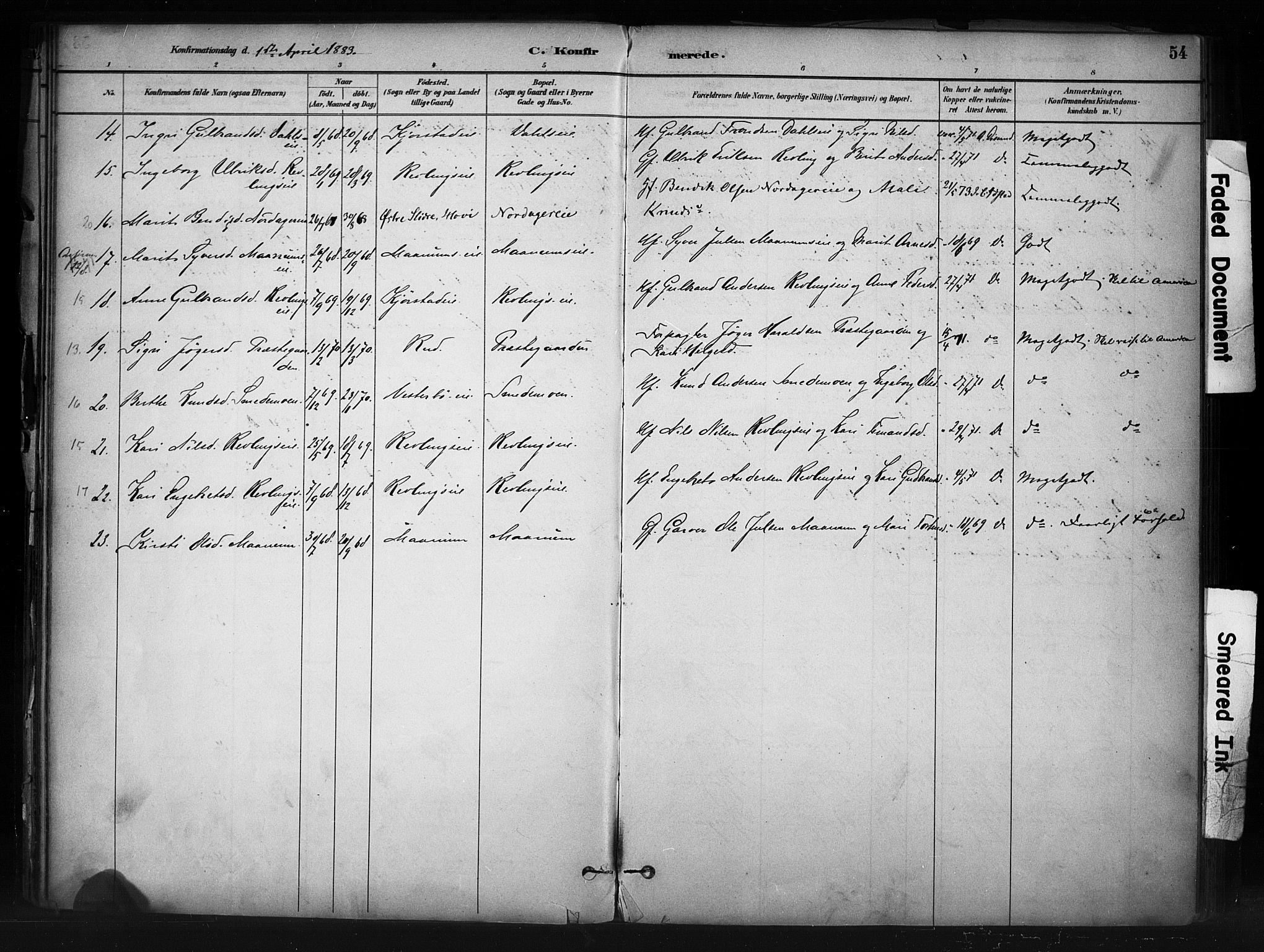 SAH, Nord-Aurdal prestekontor, Ministerialbok nr. 13, 1883-1895, s. 54