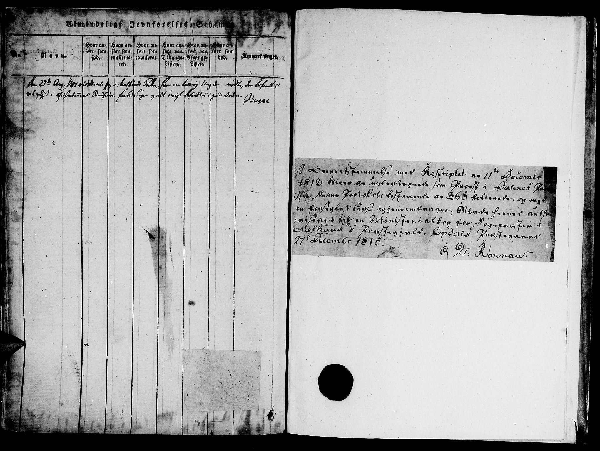 SAT, Ministerialprotokoller, klokkerbøker og fødselsregistre - Sør-Trøndelag, 691/L1065: Ministerialbok nr. 691A03 /1, 1816-1826