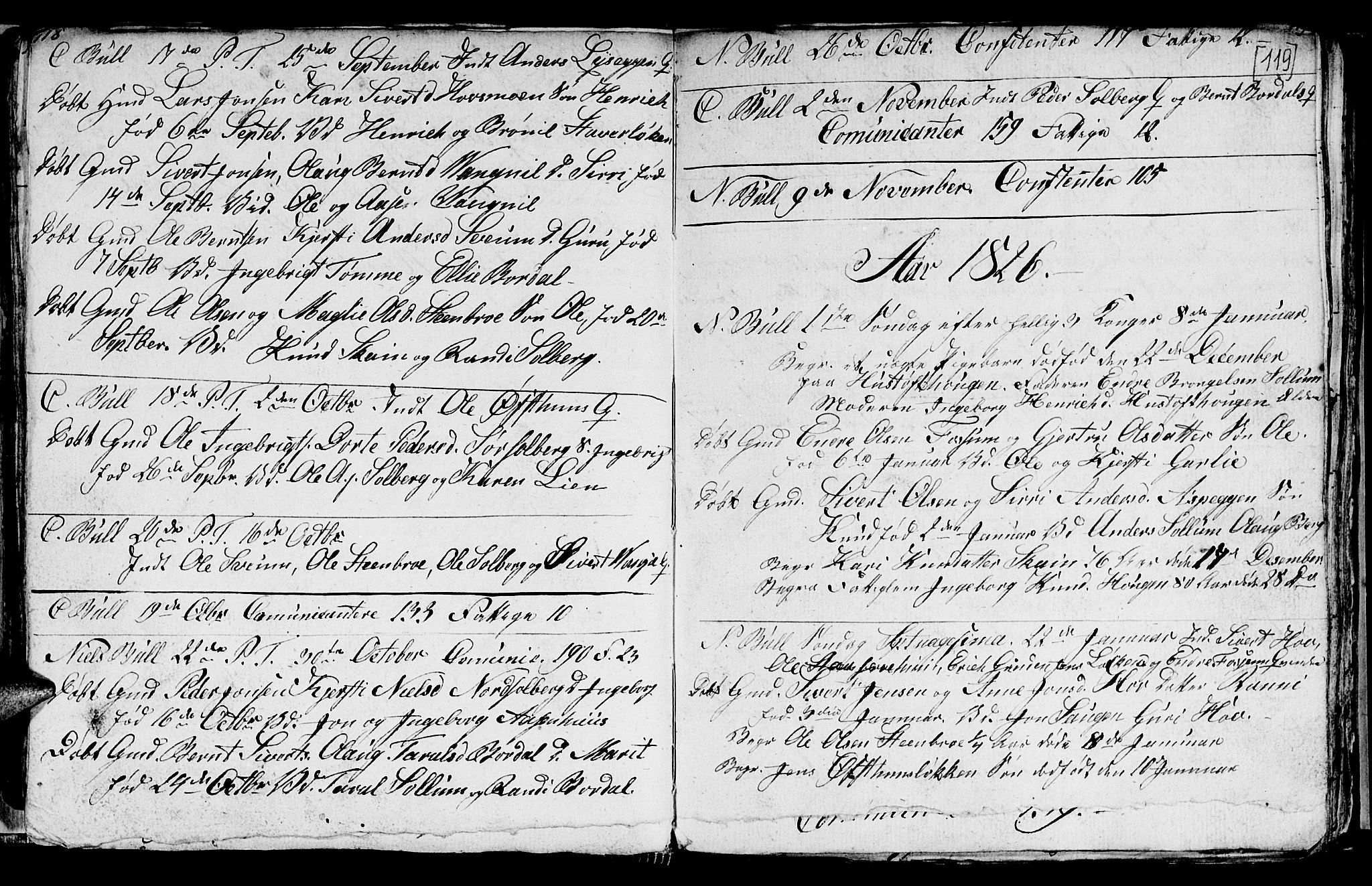 SAT, Ministerialprotokoller, klokkerbøker og fødselsregistre - Sør-Trøndelag, 689/L1042: Klokkerbok nr. 689C01, 1812-1841, s. 118-119