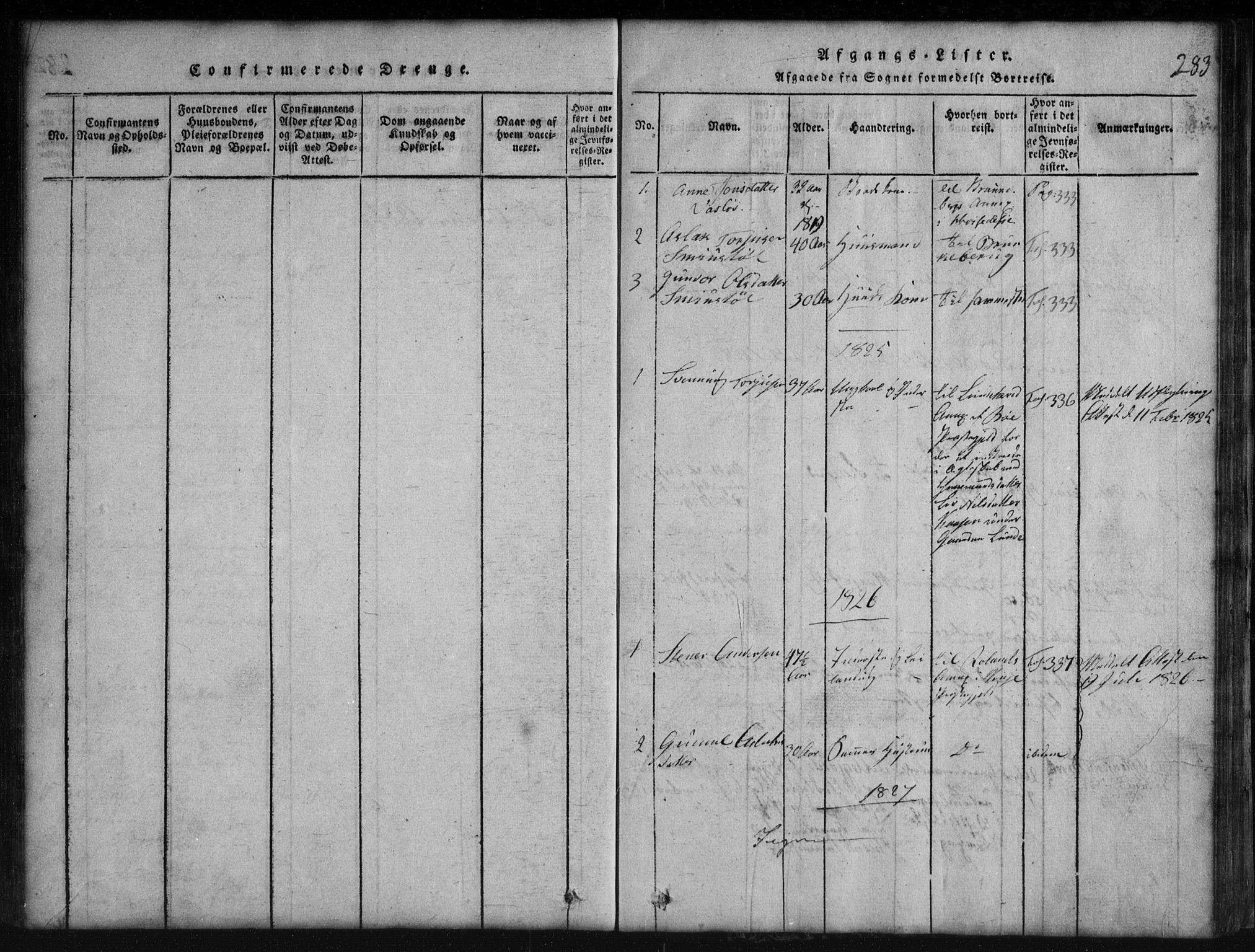 SAKO, Rauland kirkebøker, G/Gb/L0001: Klokkerbok nr. II 1, 1815-1886, s. 283