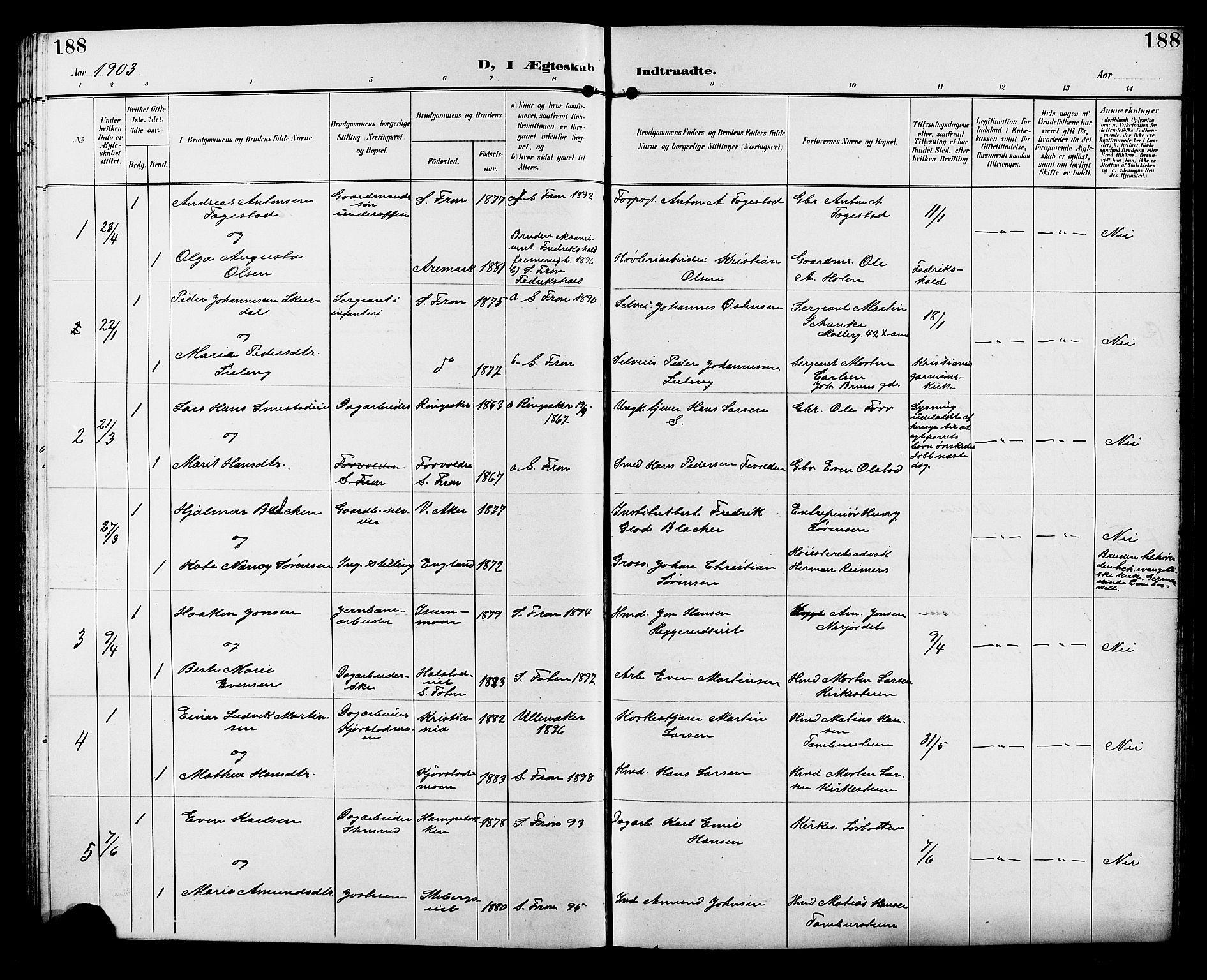 SAH, Sør-Fron prestekontor, H/Ha/Hab/L0004: Klokkerbok nr. 4, 1896-1911, s. 188