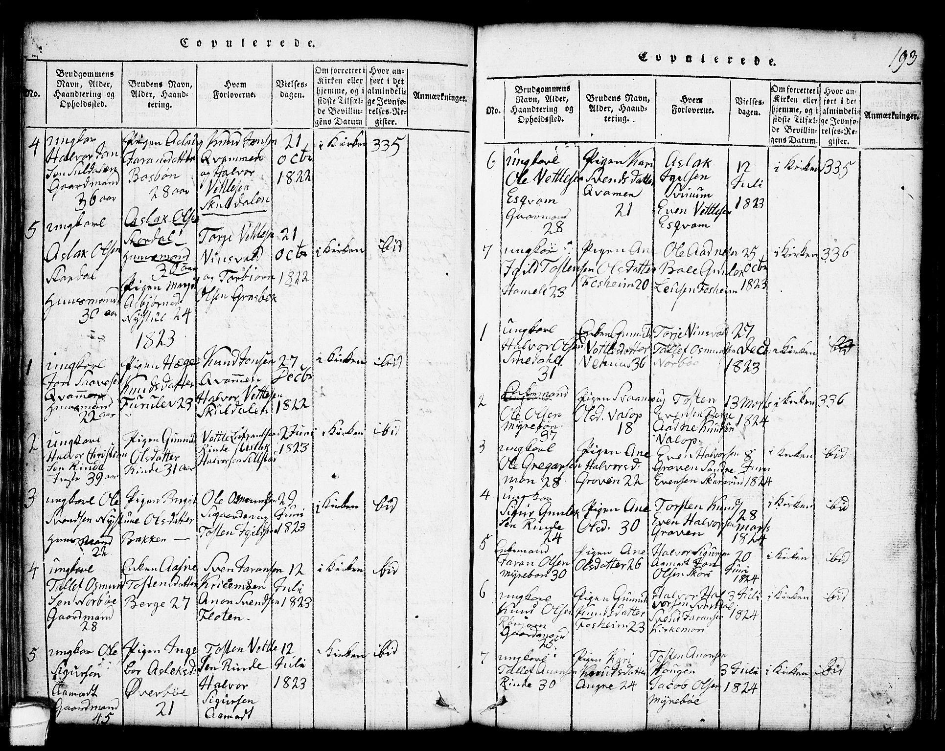 SAKO, Seljord kirkebøker, G/Gc/L0001: Klokkerbok nr. III 1, 1815-1849, s. 193