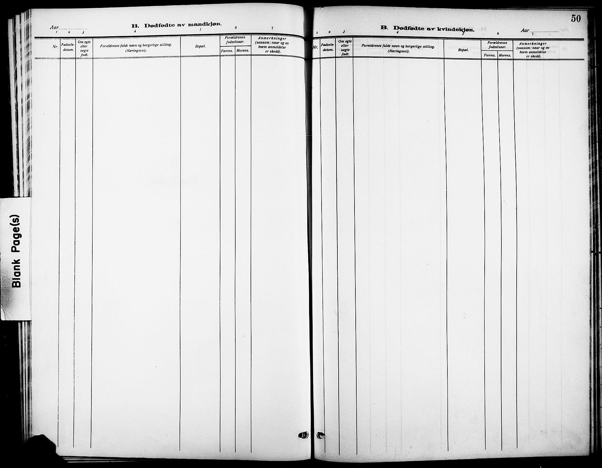 SAKO, Skåtøy kirkebøker, G/Ga/L0005: Klokkerbok nr. I 5, 1915-1925, s. 50
