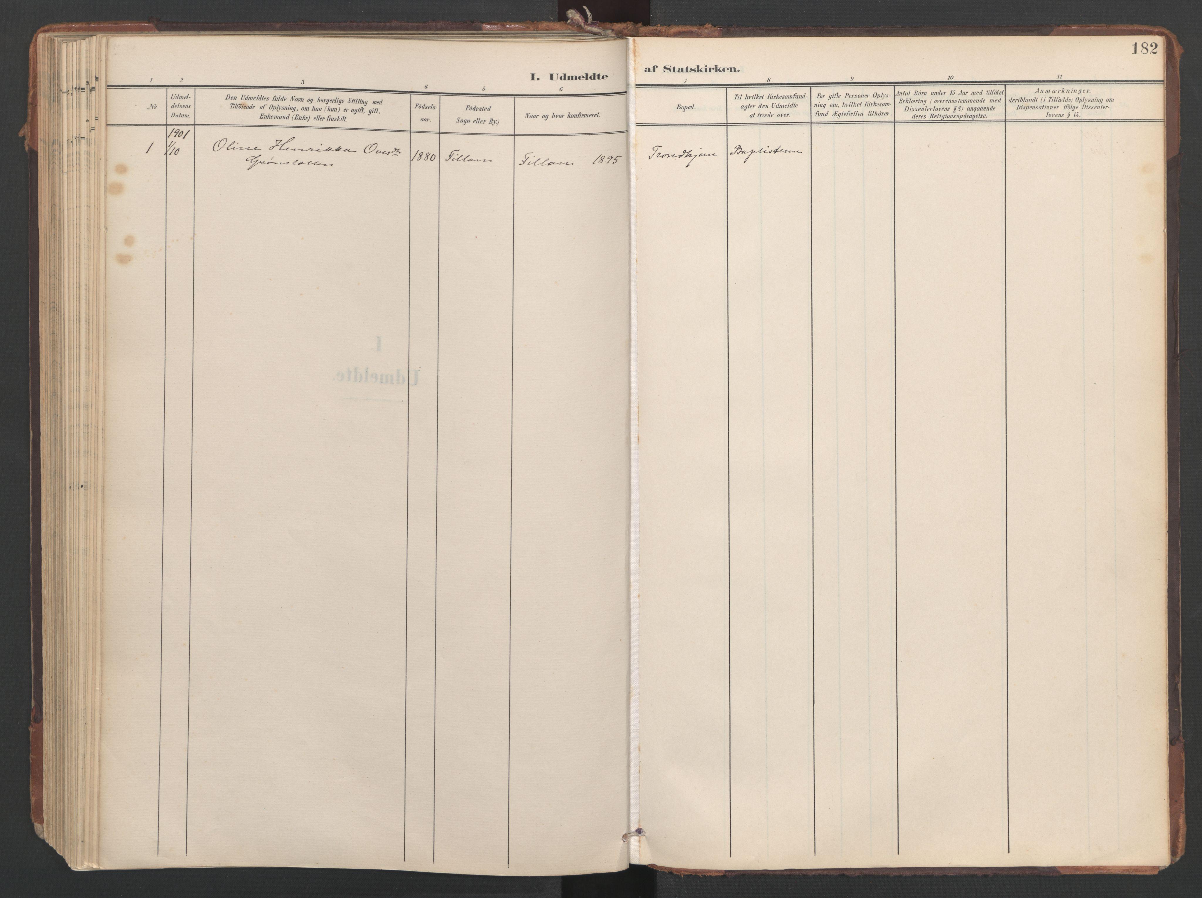 SAT, Ministerialprotokoller, klokkerbøker og fødselsregistre - Sør-Trøndelag, 638/L0568: Ministerialbok nr. 638A01, 1901-1916, s. 182