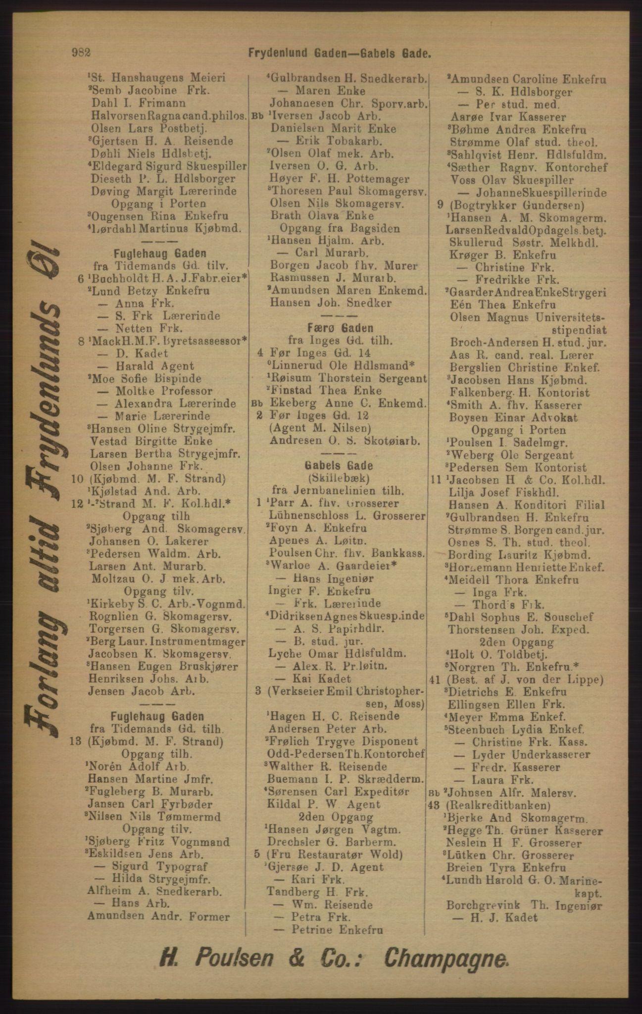 RA, Kristiania adressebok (publikasjon)*, 1905, s. 982