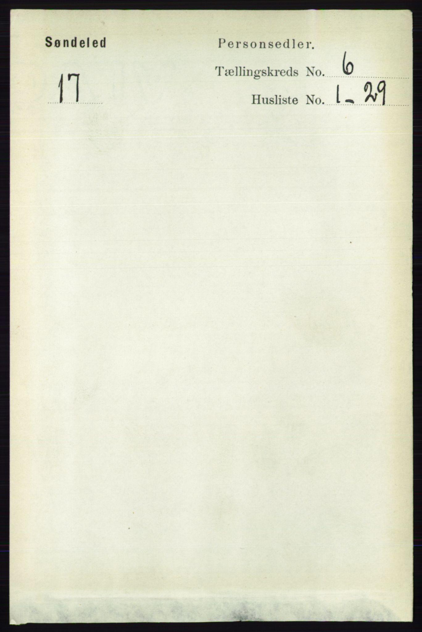 RA, Folketelling 1891 for 0913 Søndeled herred, 1891, s. 1813