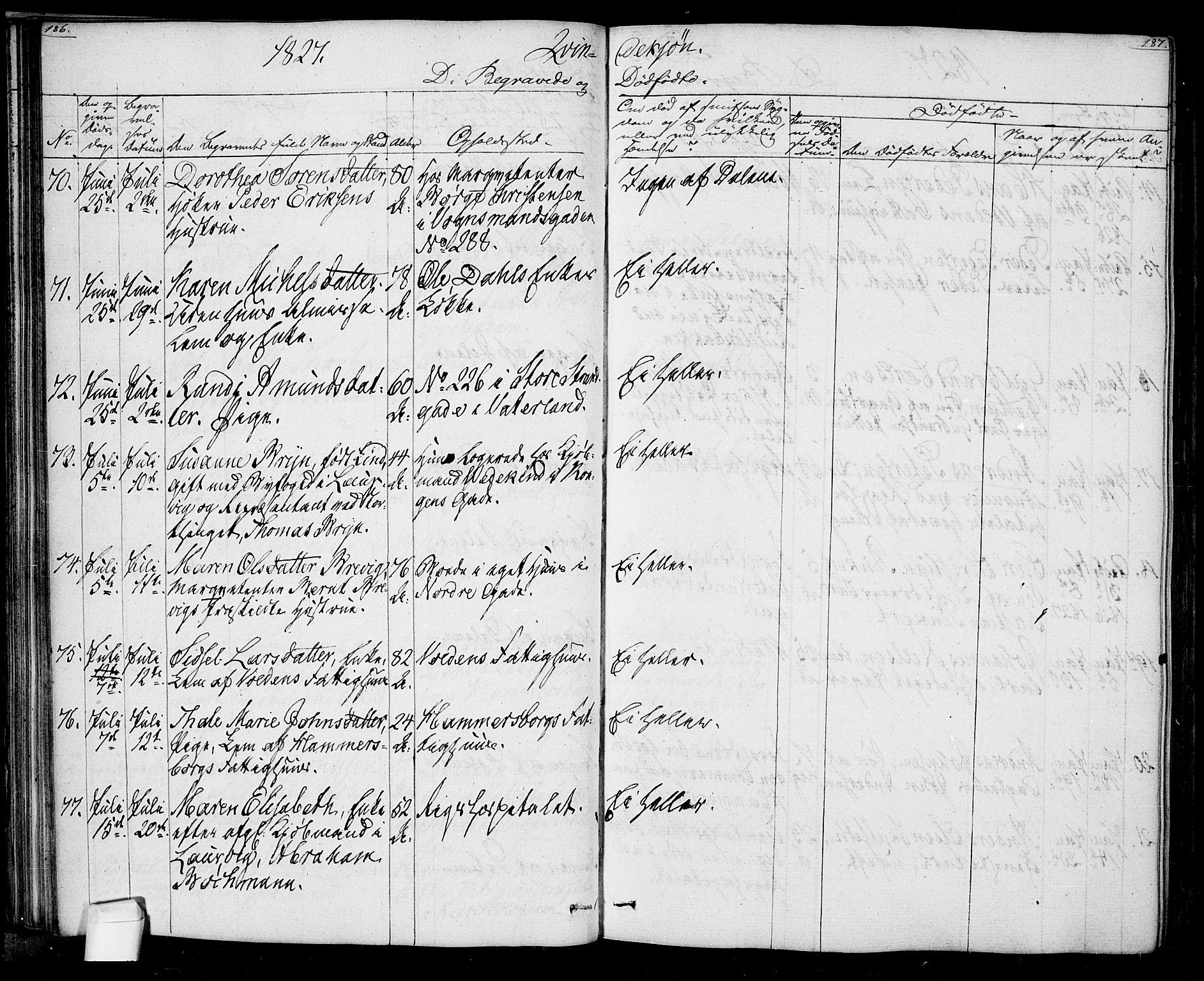 SAO, Oslo domkirke Kirkebøker, F/Fa/L0022: Ministerialbok nr. 22, 1824-1829, s. 186-187