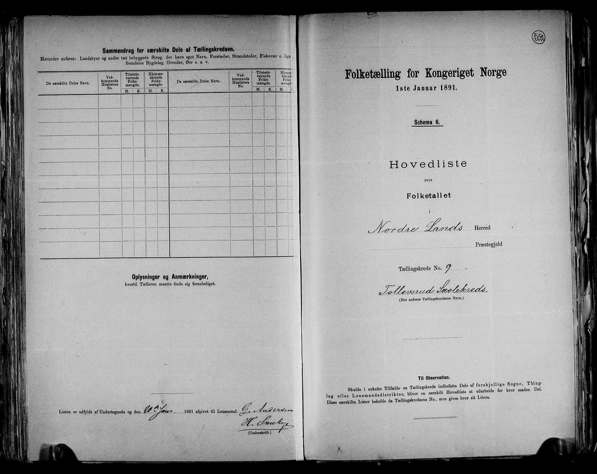 RA, Folketelling 1891 for 0538 Nordre Land herred, 1891, s. 20