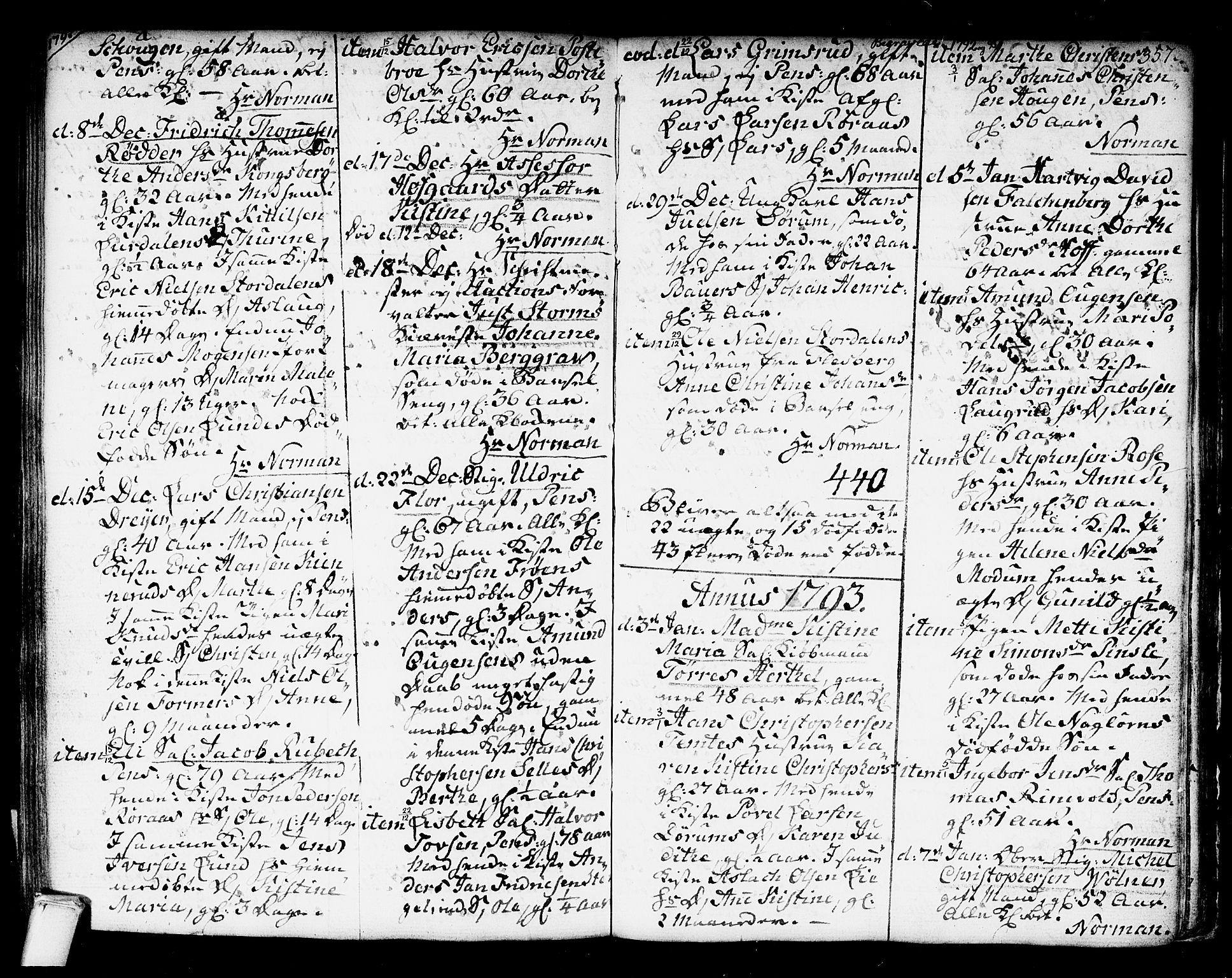 SAKO, Kongsberg kirkebøker, F/Fa/L0006: Ministerialbok nr. I 6, 1783-1797, s. 357