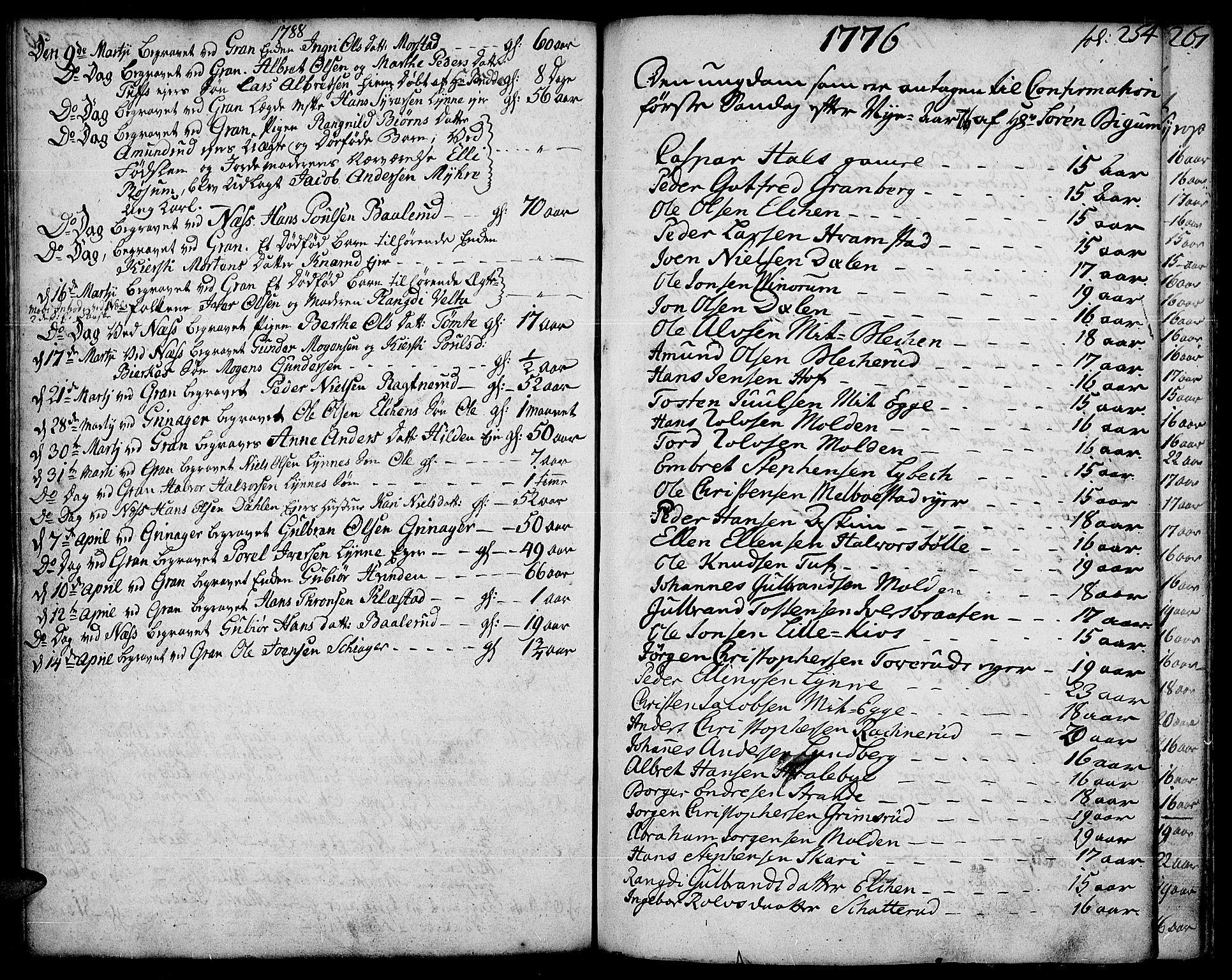 SAH, Gran prestekontor, Ministerialbok nr. 5, 1776-1788, s. 254