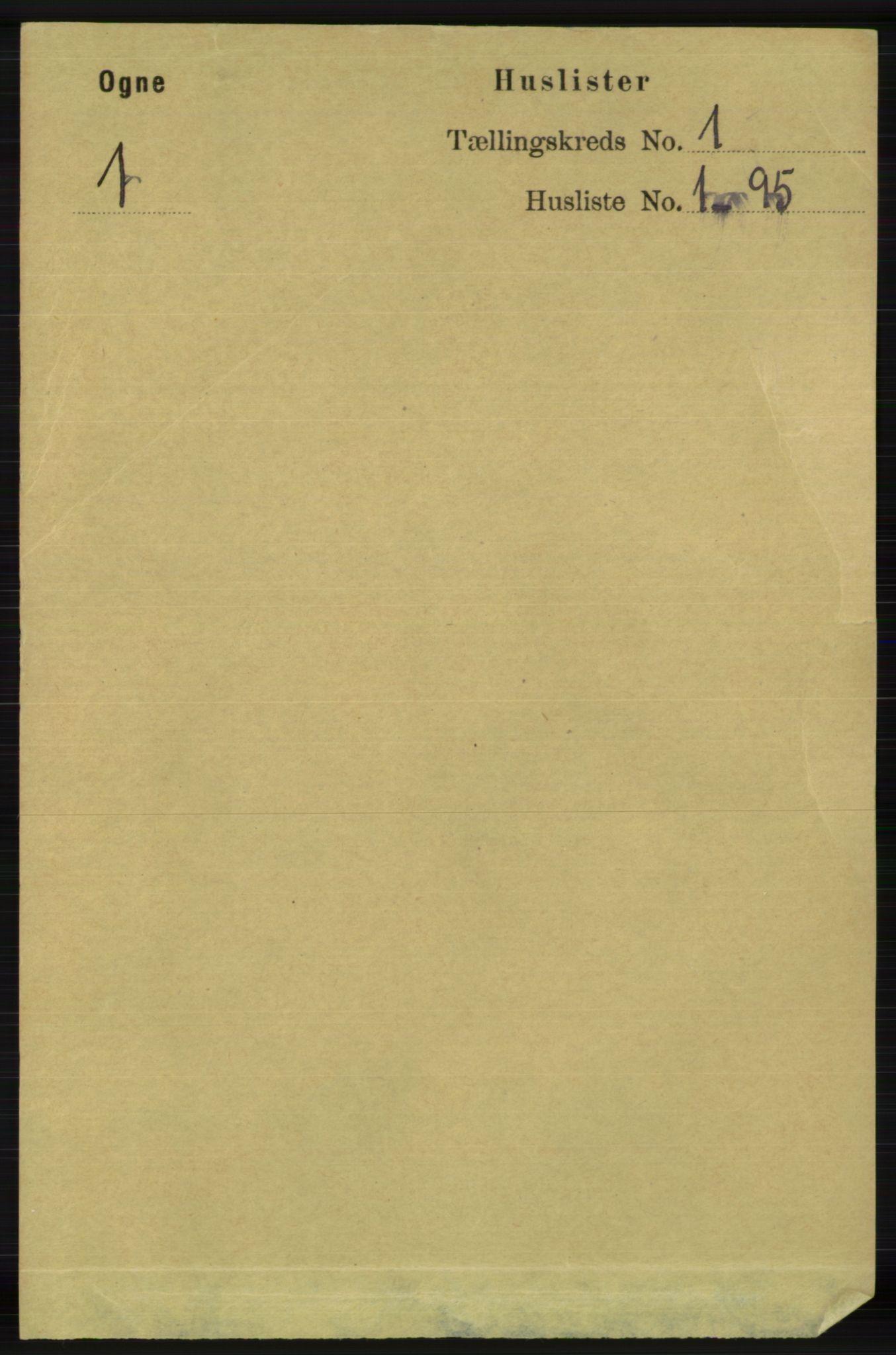 RA, Folketelling 1891 for 1117 Ogna herred, 1891, s. 9