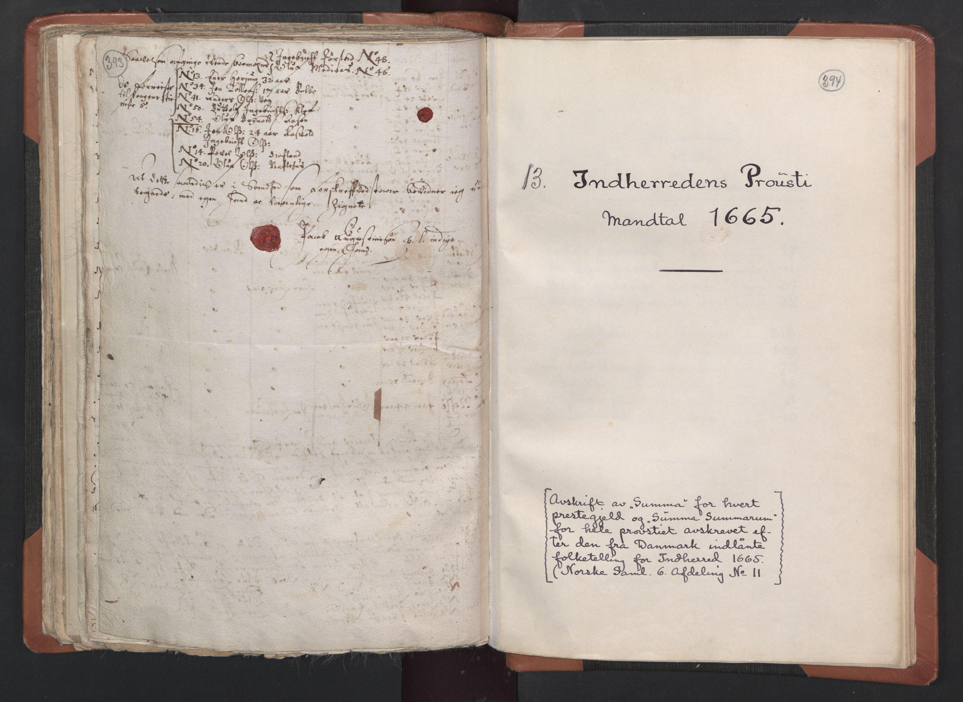 RA, Sogneprestenes manntall 1664-1666, nr. 33: Innherad prosti, 1664-1666, s. 393-394