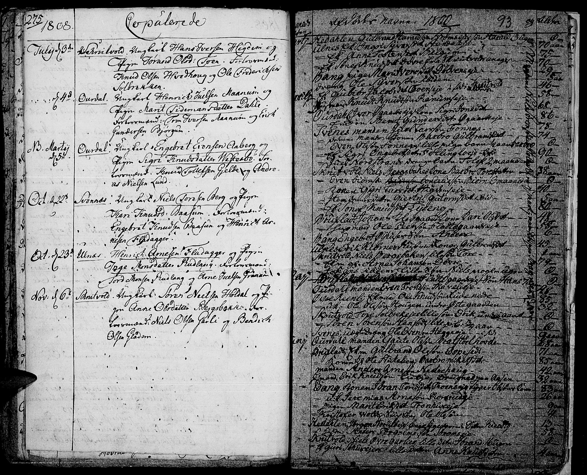 SAH, Aurdal prestekontor, Ministerialbok nr. 7, 1800-1808, s. 93