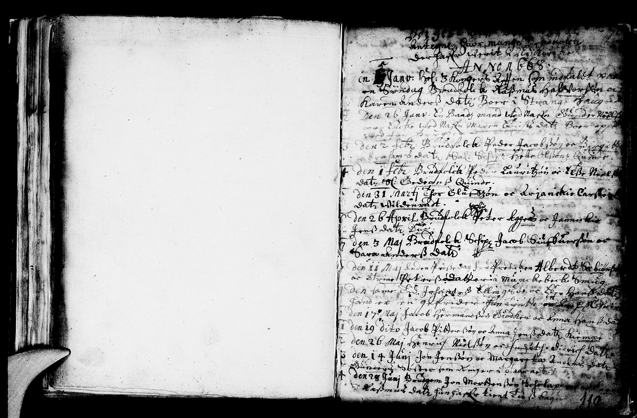 SAB, Nykirken Sokneprestembete, H/Haa: Ministerialbok nr. A 1, 1668-1820, s. 110