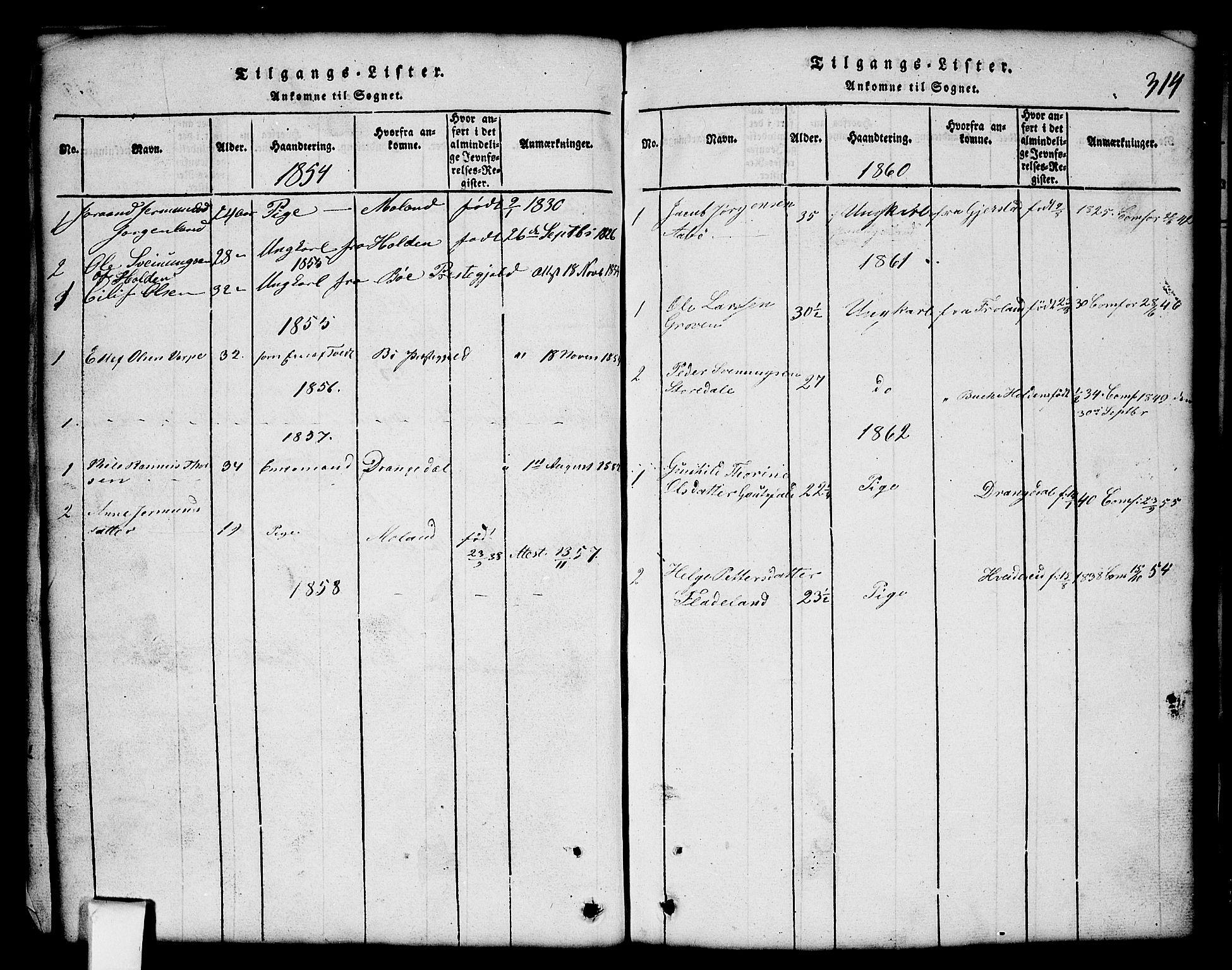 SAKO, Nissedal kirkebøker, G/Gb/L0001: Klokkerbok nr. II 1, 1814-1862, s. 314