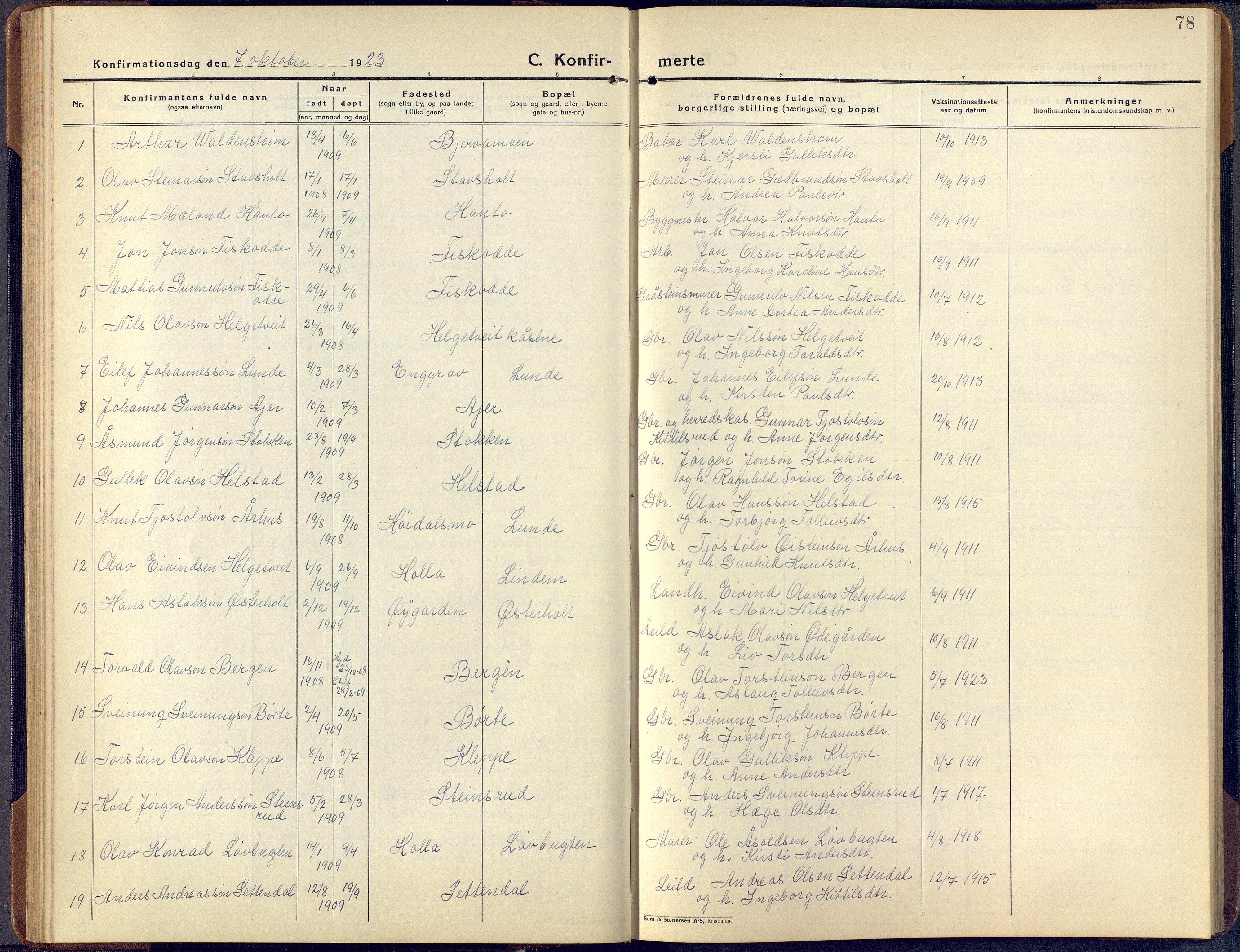 SAKO, Lunde kirkebøker, F/Fa/L0006: Ministerialbok nr. I 6, 1922-1940, s. 78