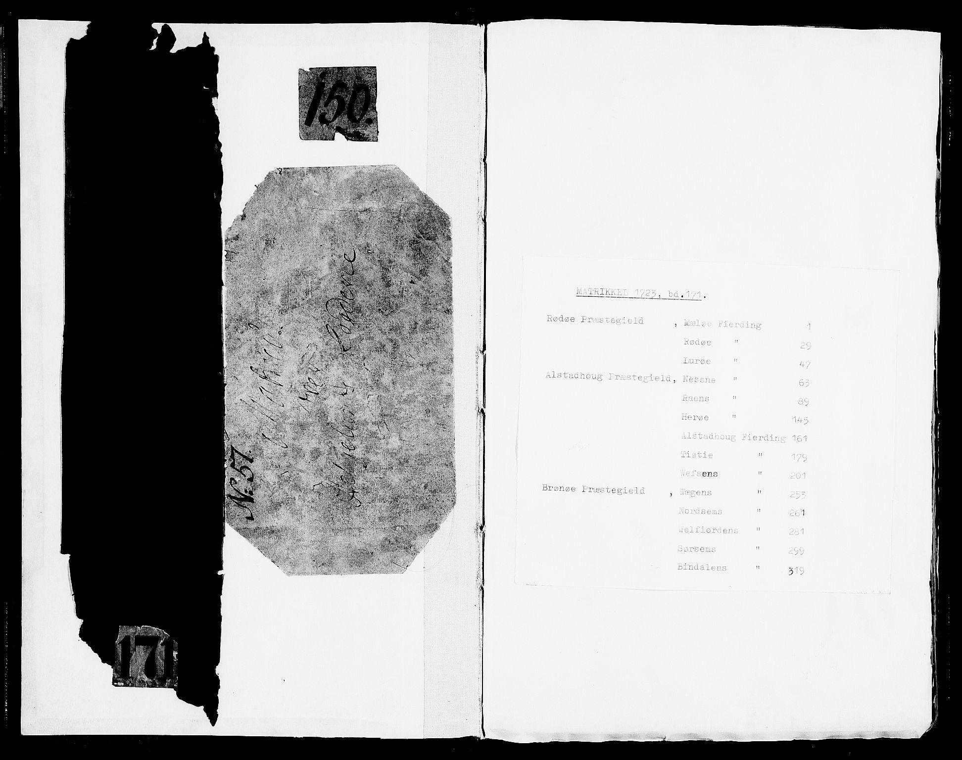 RA, Rentekammeret inntil 1814, Realistisk ordnet avdeling, N/Nb/Nbf/L0171: Helgeland matrikkelprotokoll, 1723, s. upaginert