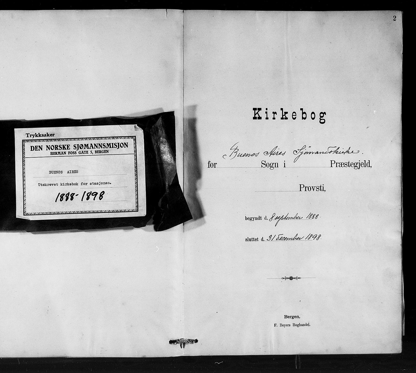 SAB, Den Norske Sjømannsmisjon i utlandet*, Ministerialbok nr. A 1, 1888-1898, s. 2