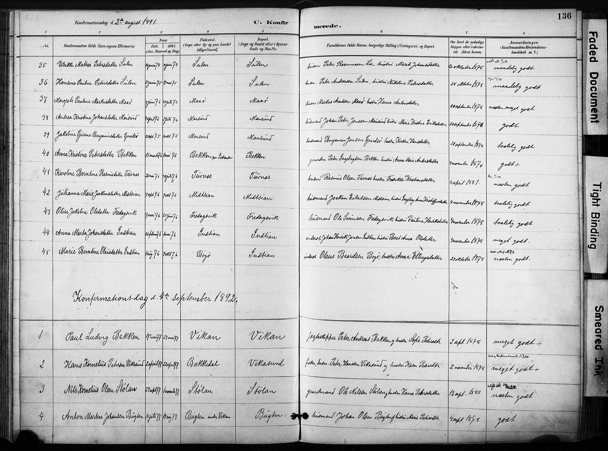 SAT, Ministerialprotokoller, klokkerbøker og fødselsregistre - Sør-Trøndelag, 640/L0579: Ministerialbok nr. 640A04, 1889-1902, s. 136