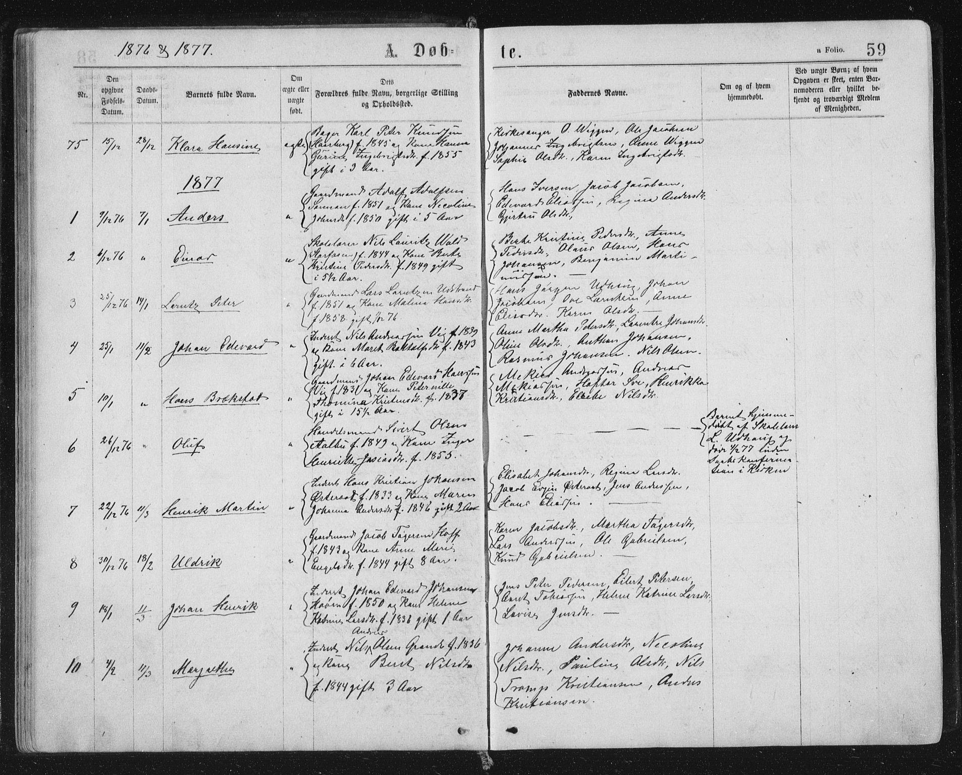 SAT, Ministerialprotokoller, klokkerbøker og fødselsregistre - Sør-Trøndelag, 659/L0745: Klokkerbok nr. 659C02, 1869-1892, s. 59
