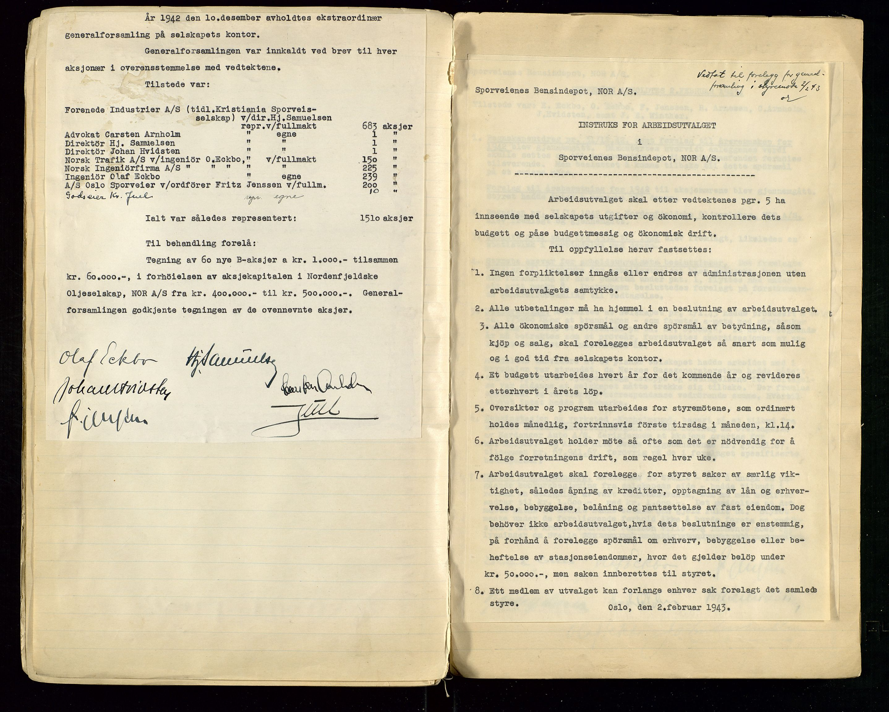 SAST, PA 1514 - Sporveienes Bensindepot, Norsk Oljeraffineri A/S, A/L0001: Styreprotokoll. Forhandlingsprotokoll Arbeidsutvaget, 1932-1949, s. 73