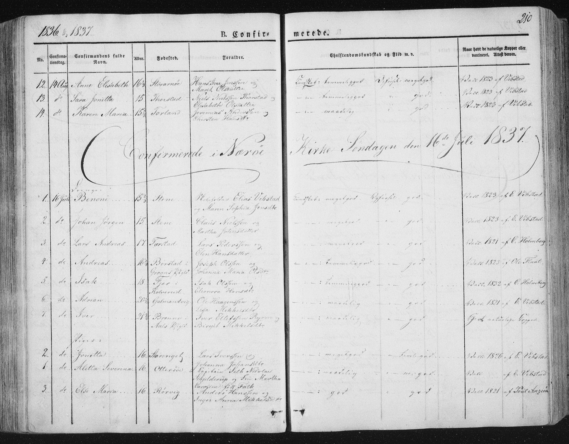 SAT, Ministerialprotokoller, klokkerbøker og fødselsregistre - Nord-Trøndelag, 784/L0669: Ministerialbok nr. 784A04, 1829-1859, s. 210