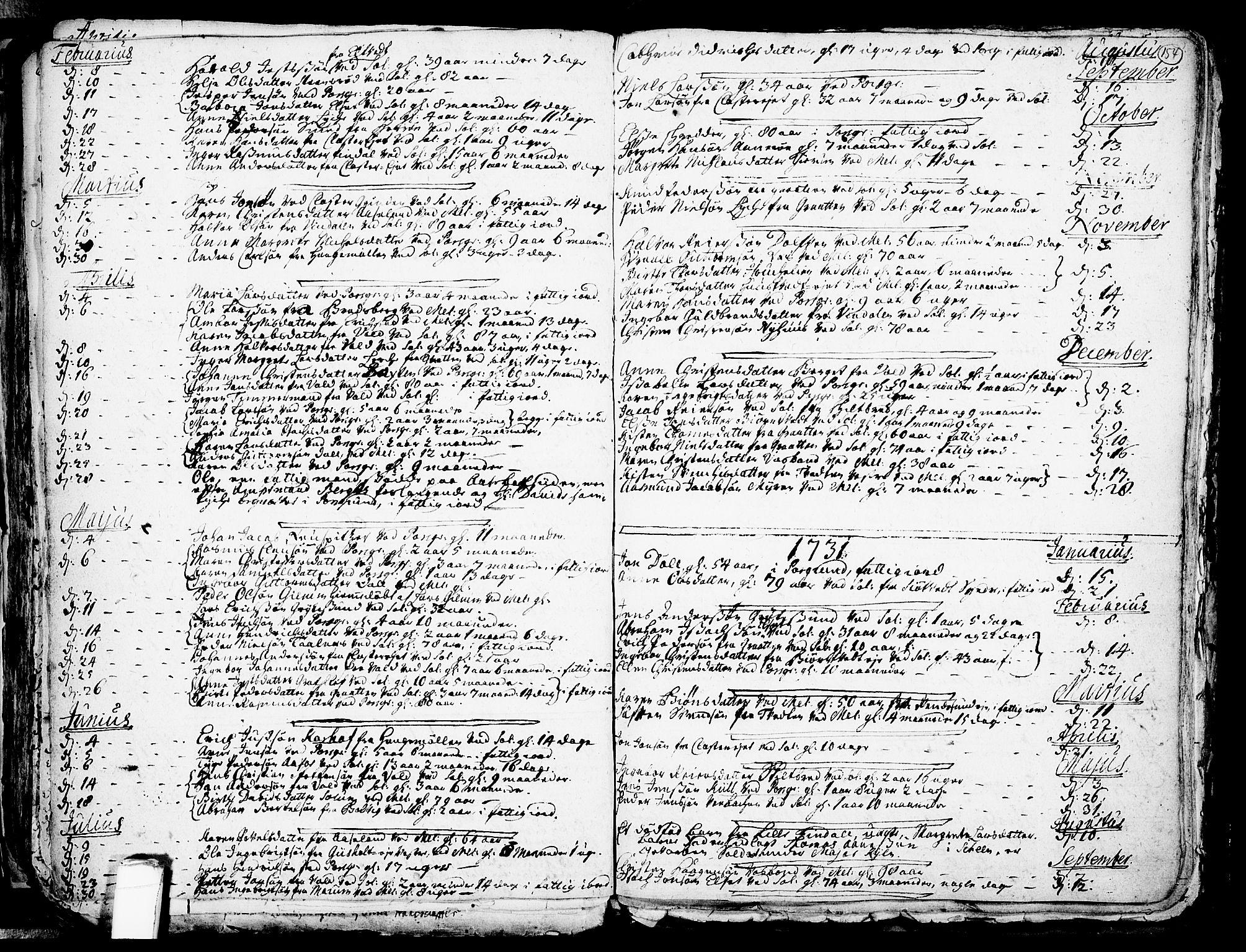 SAKO, Solum kirkebøker, F/Fa/L0002: Ministerialbok nr. I 2, 1713-1761, s. 154