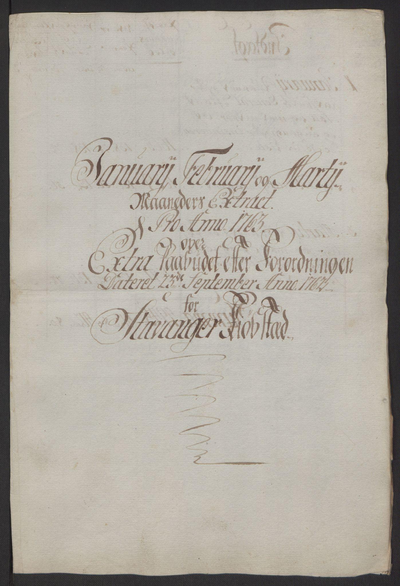 RA, Rentekammeret inntil 1814, Reviderte regnskaper, Byregnskaper, R/Ro/L0305: [O6] Kontribusjonsregnskap, 1762-1768, s. 18