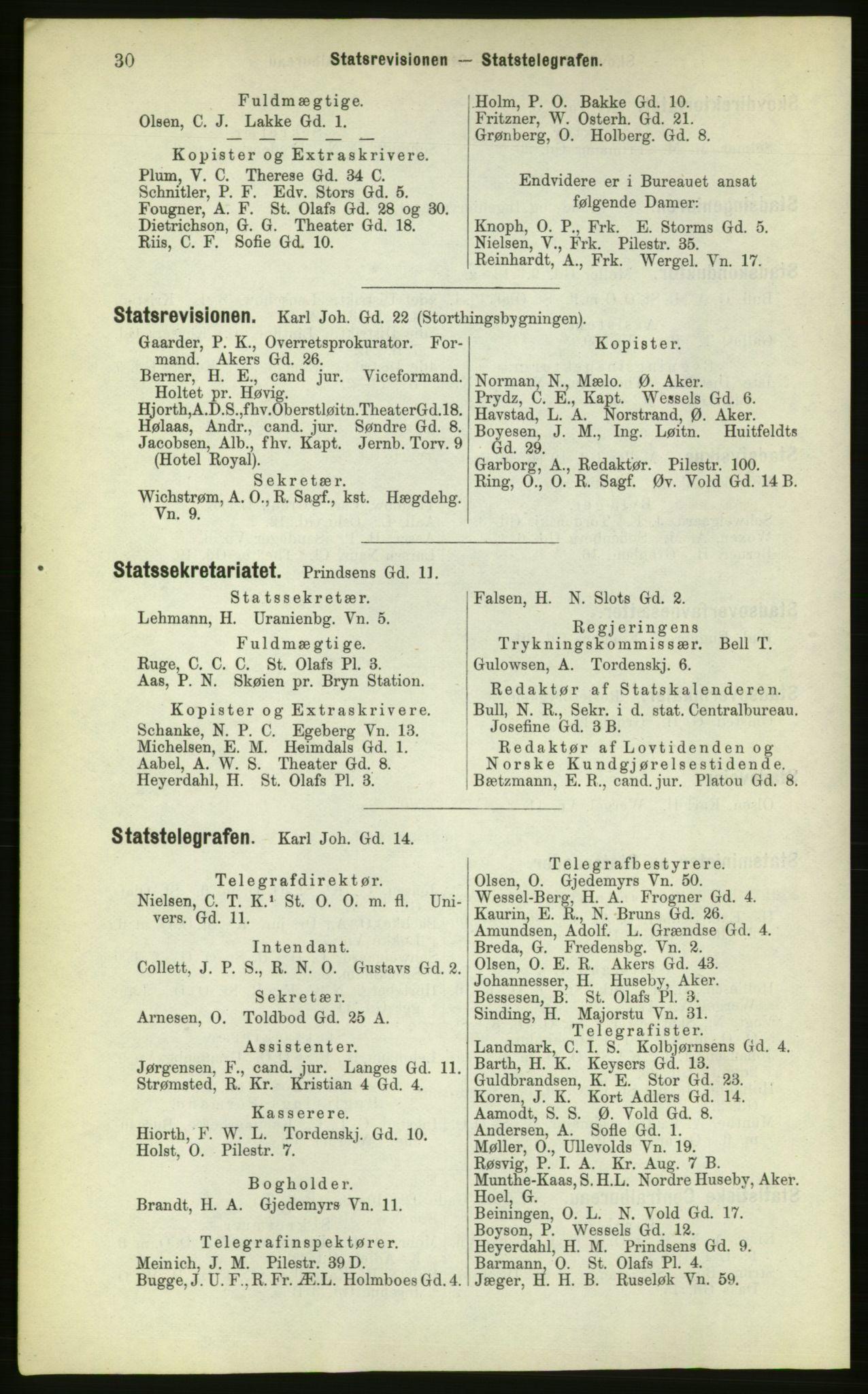 PUBL, Kristiania/Oslo adressebok, 1883, s. 30
