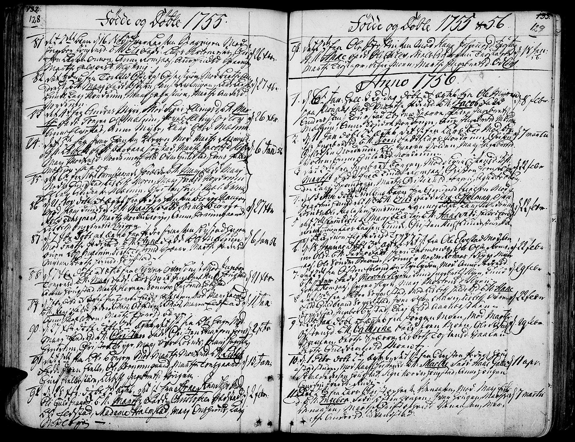 SAH, Ringebu prestekontor, Ministerialbok nr. 2, 1734-1780, s. 128-129