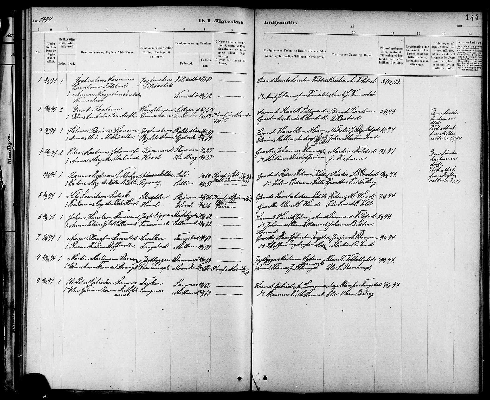 SAT, Ministerialprotokoller, klokkerbøker og fødselsregistre - Nord-Trøndelag, 744/L0423: Klokkerbok nr. 744C02, 1886-1905, s. 144