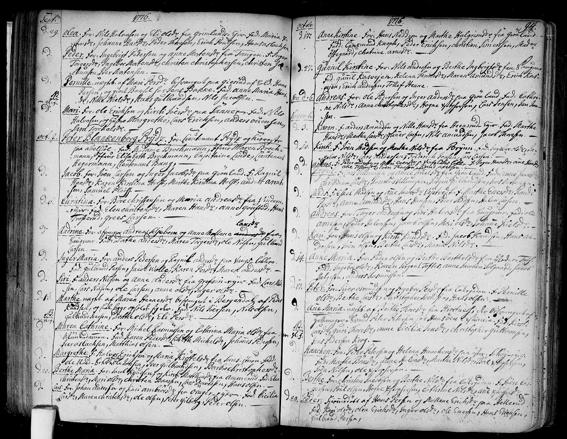 SAO, Aker prestekontor kirkebøker, F/L0009: Ministerialbok nr. 9, 1765-1785, s. 94