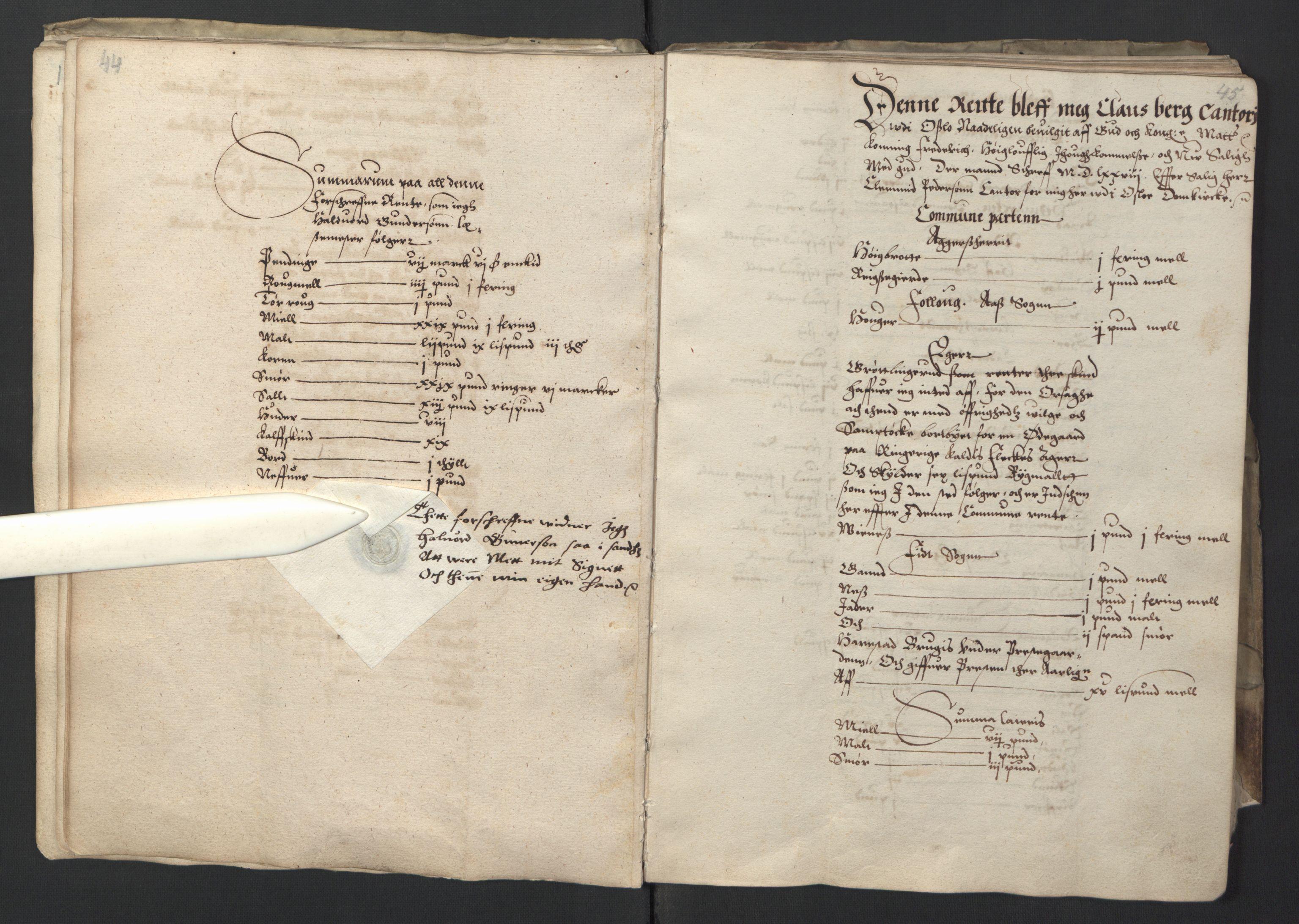 RA, Stattholderembetet 1572-1771, Ek/L0001: Jordebøker før 1624 og til utligning av garnisonsskatt 1624-1626:, 1595, s. 44-45