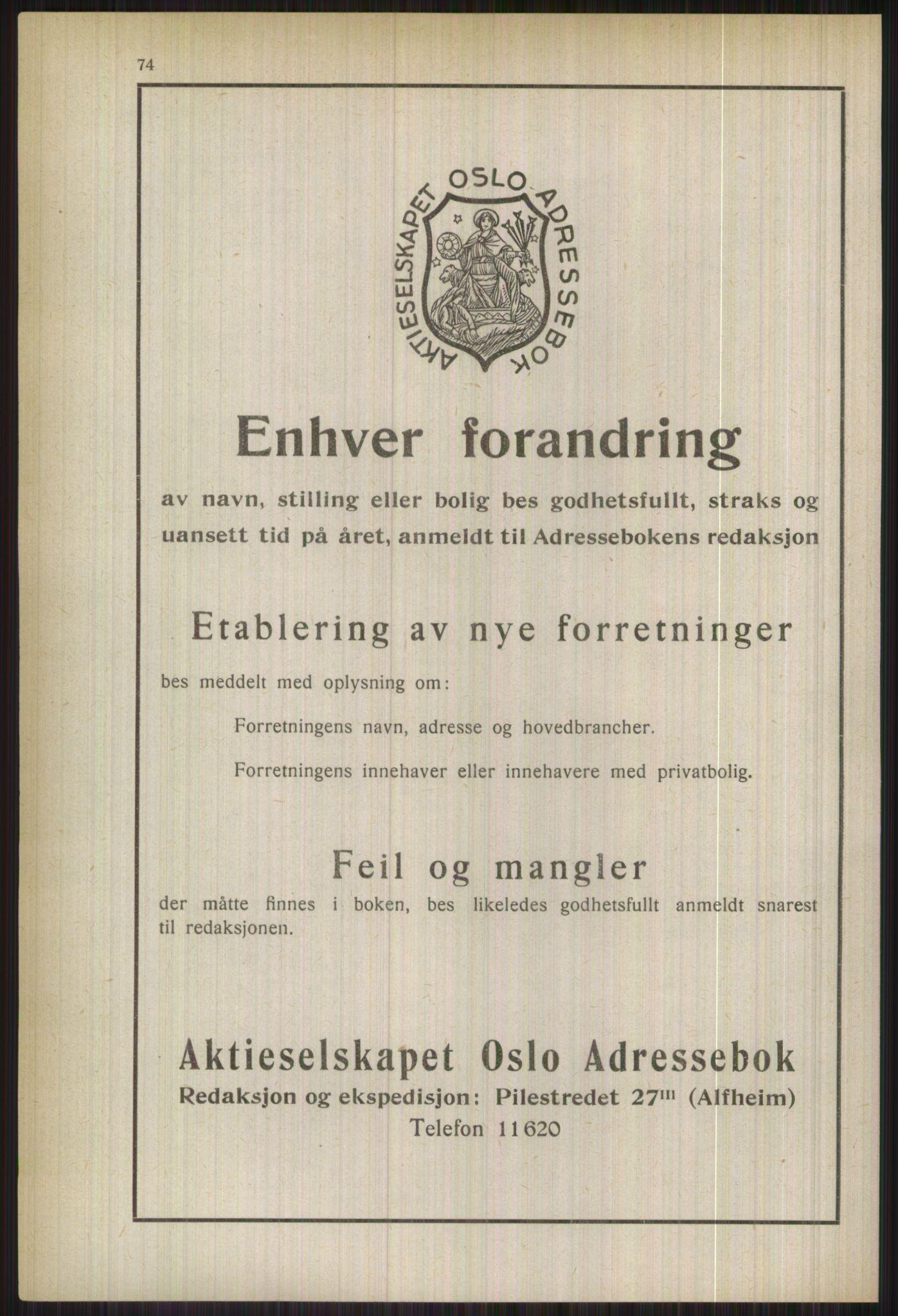 PUBL, Kristiania/Oslo adressebok, 1937, s. 74