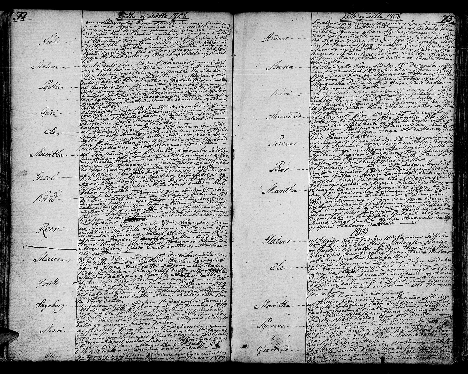 SAB, Lærdal sokneprestembete, Ministerialbok nr. A 4, 1805-1821, s. 72-73